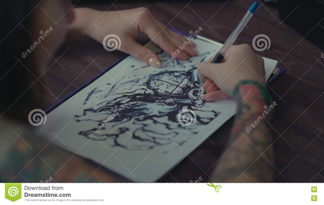 Master tattoo transfers pattern on tracing paper by pencil stock video video of skin colorful 77680607