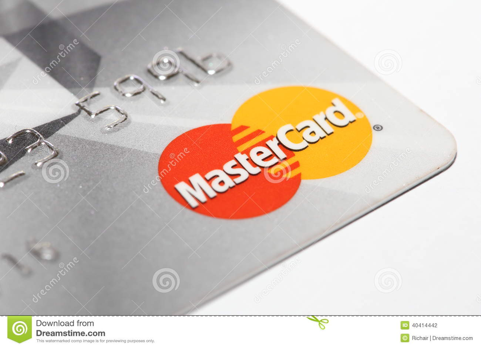 mastercard logo on credit card editorial photography