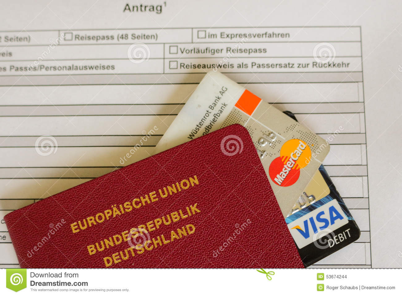 Mastercard And Visa Card On A German Passport Application Form