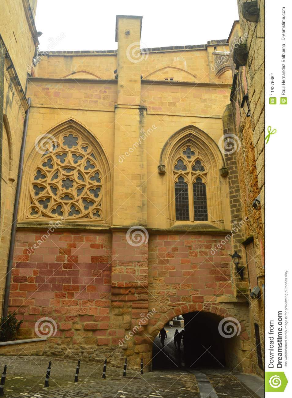 Masterly Cathedral With Its Abovered Windows In The Fortified Town Of Getaria. Architecture Middle Ages Travel.