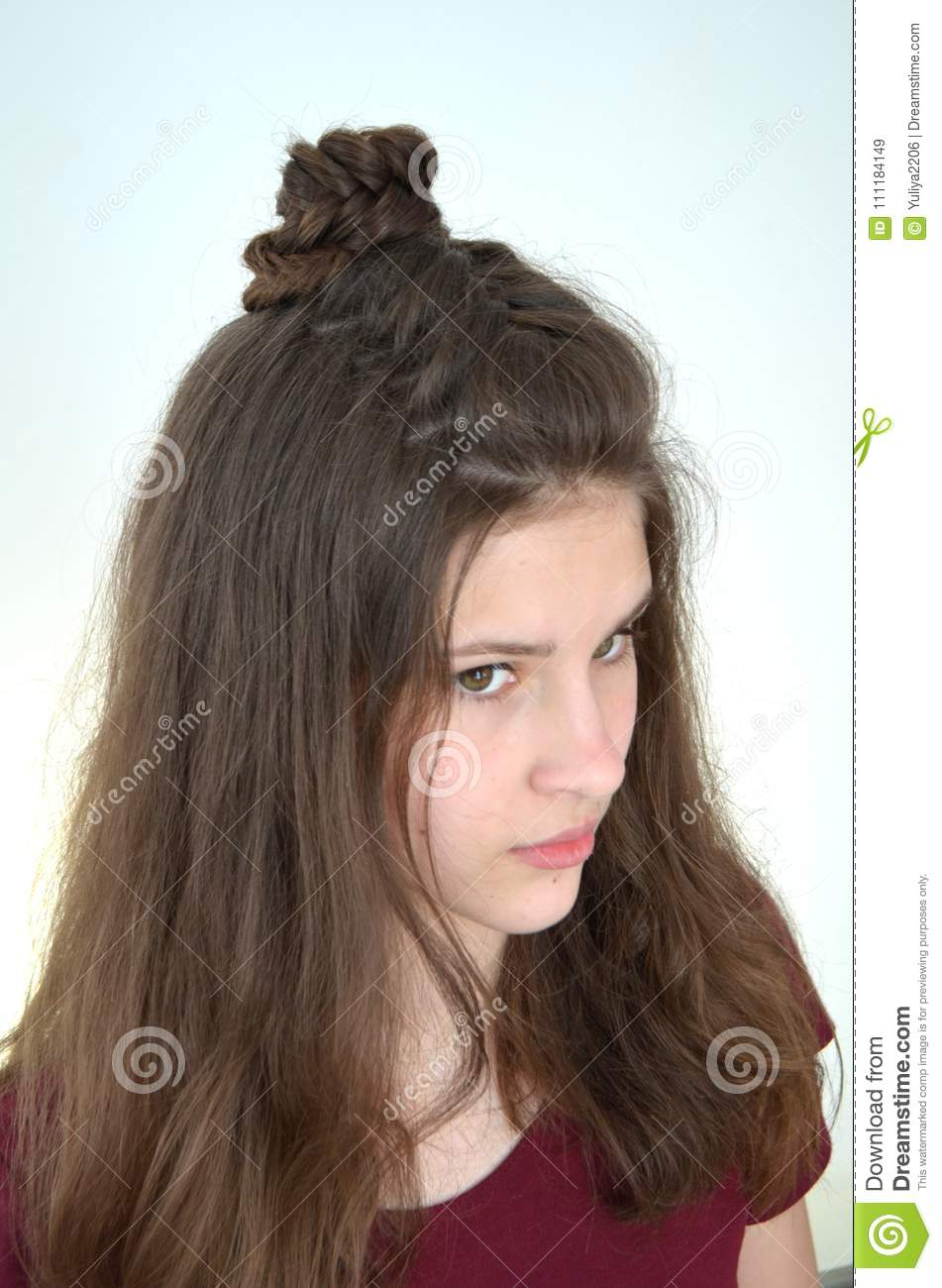 Mastery Of Weaving From Hair With Long Length Of Hair Stock Image