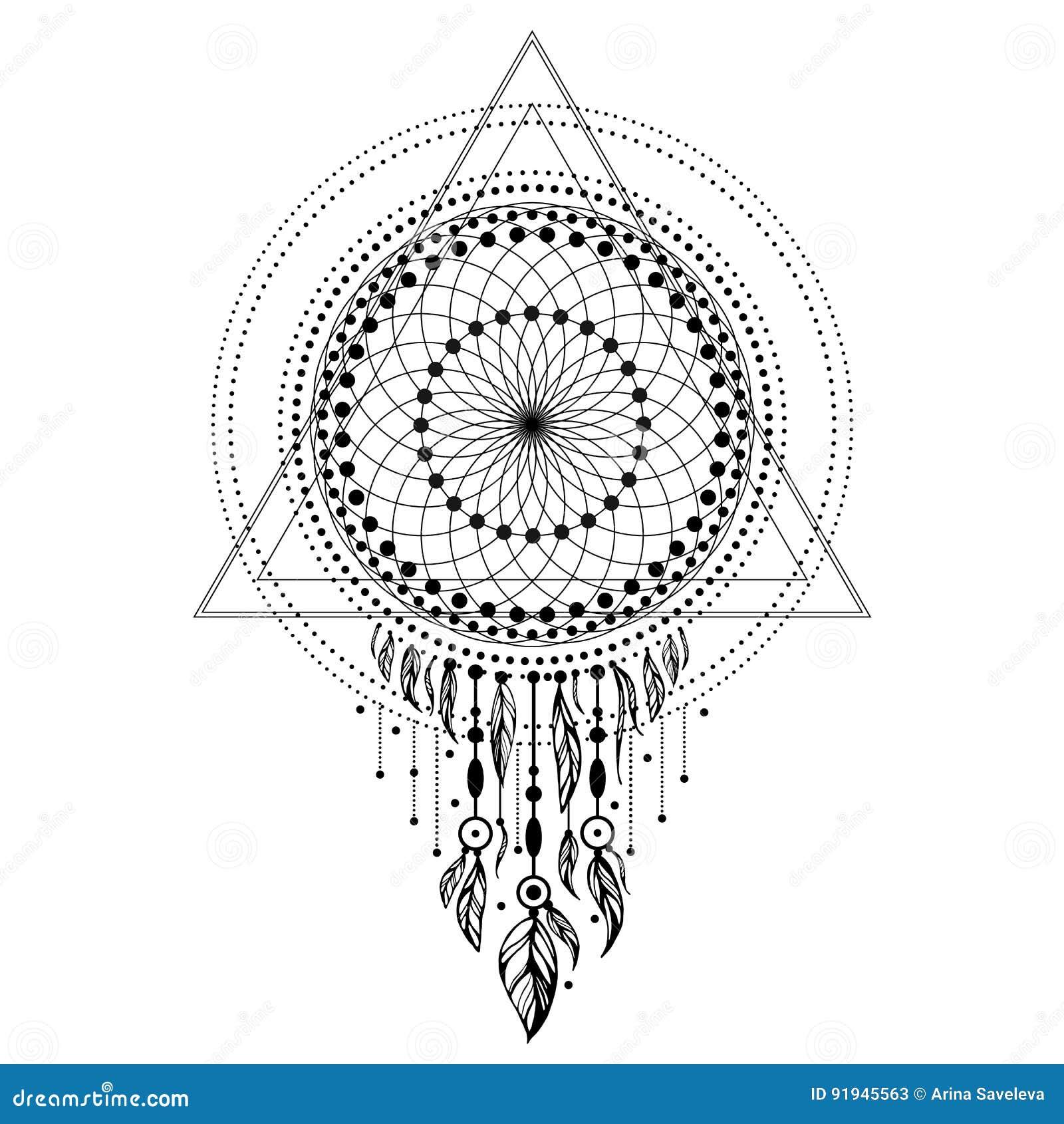 Maswerk Sakralna Geometria Z Piórkami Na Białym Tle