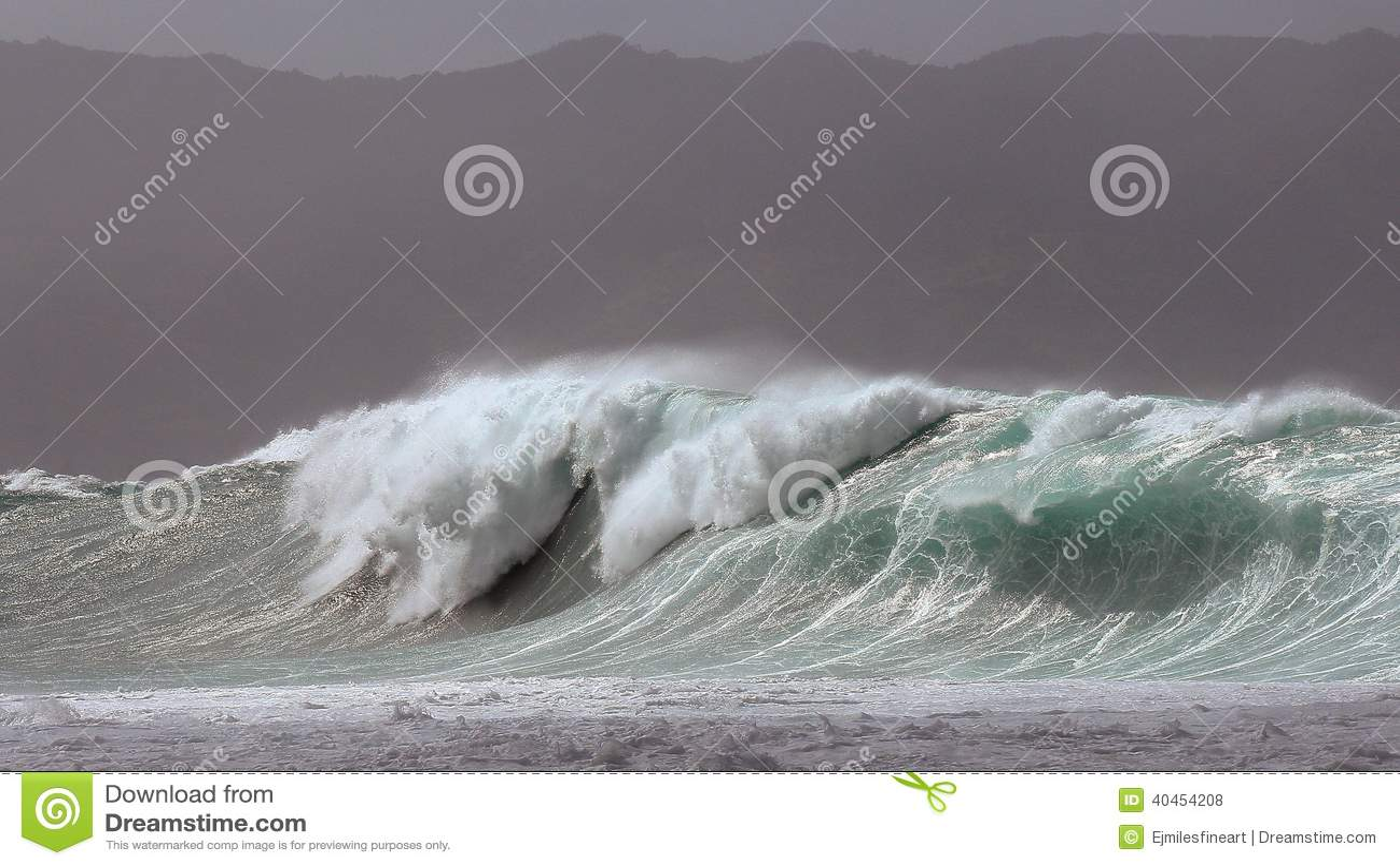 Masywna Waimea zatoki burzy kipiel