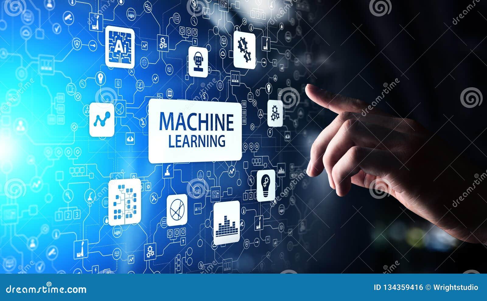 Maszyna uczenie Głębocy algorytmy, Sztuczna inteligencja AI, automatyzacja i nowożytna technologia w biznesie jako pojęcie,