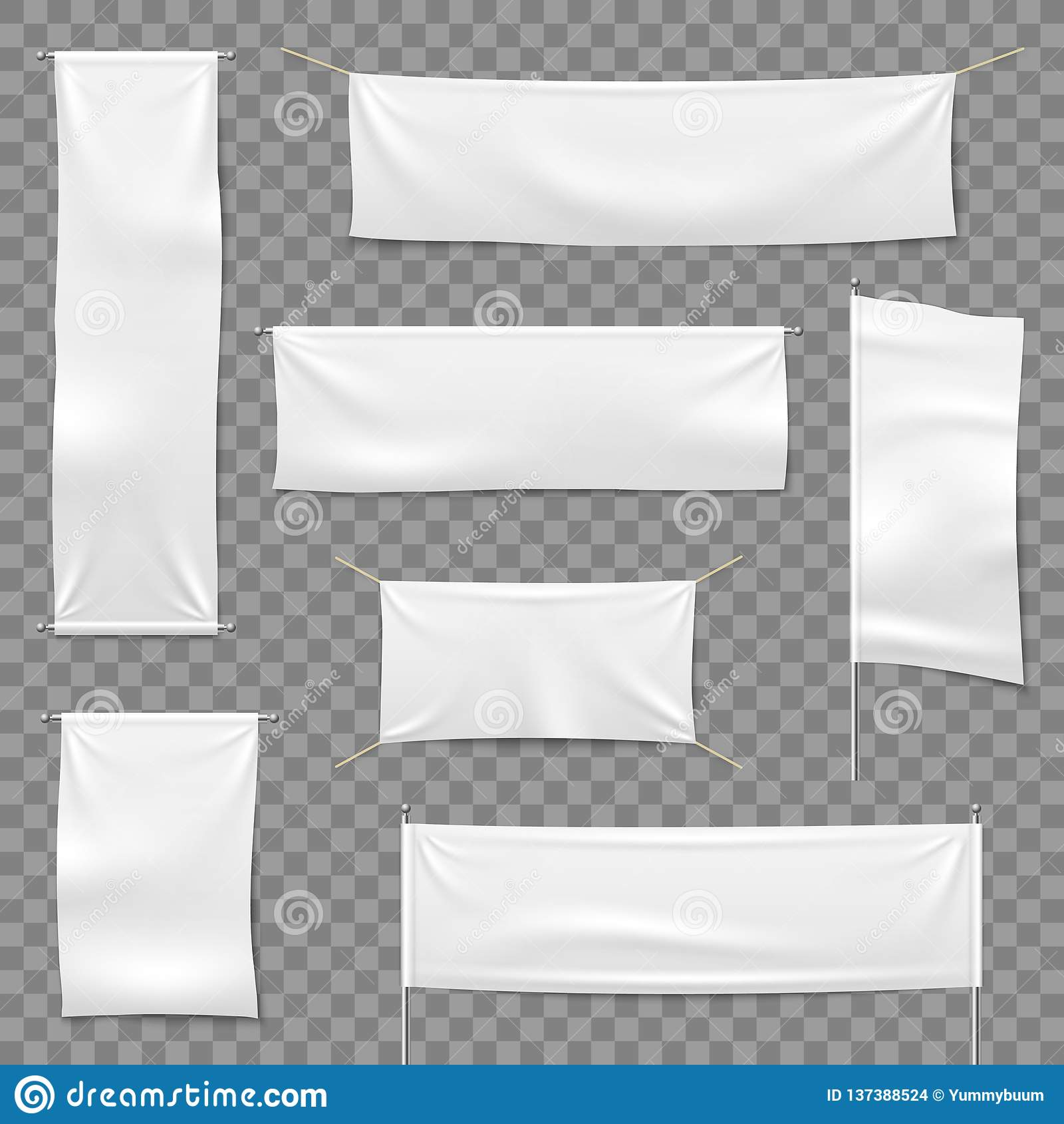 Matéria têxtil que anuncia bandeiras Bandeiras e bandeira de suspensão, sinal horizontal branco de pano da tela da placa, vetor d