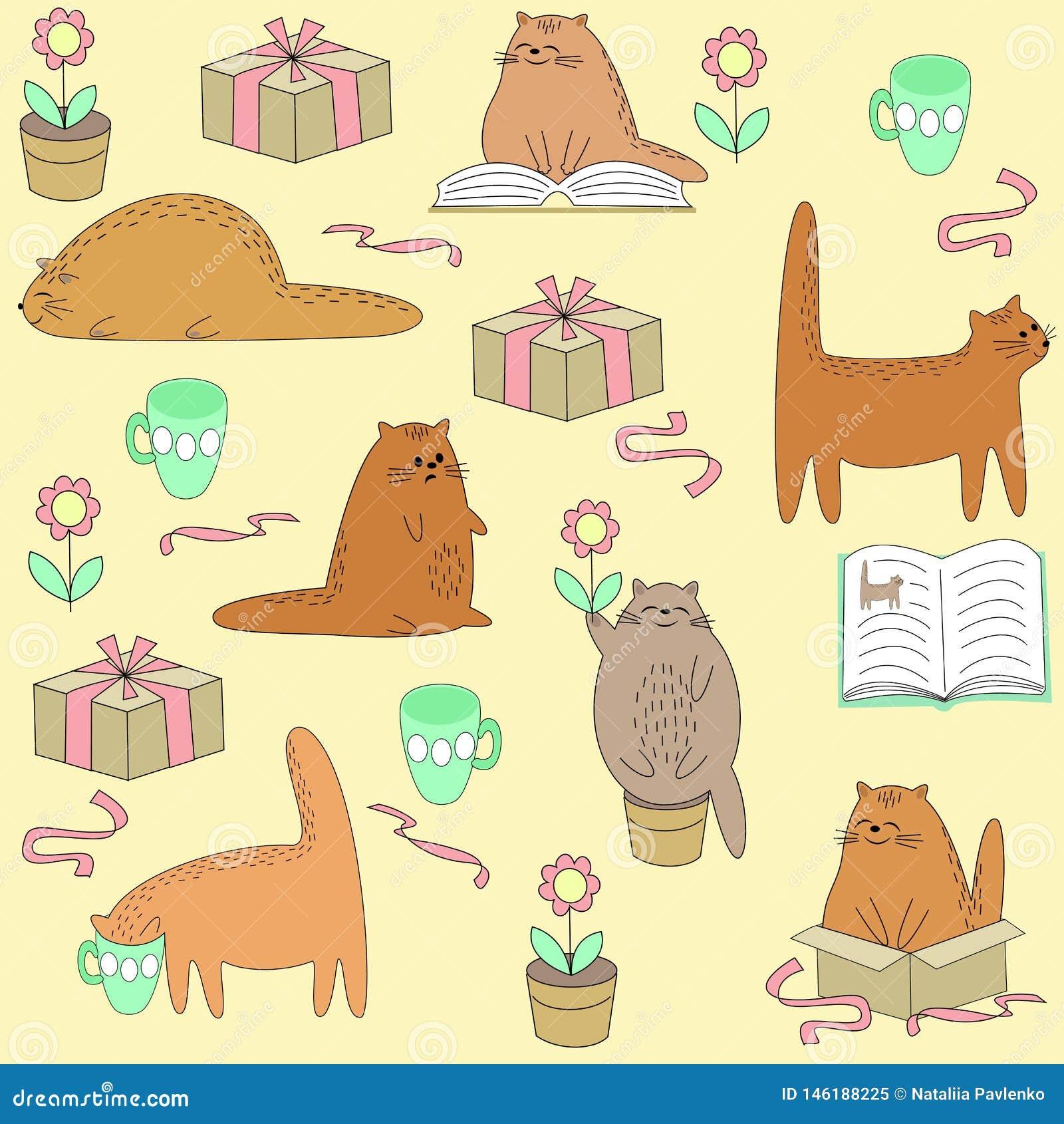Matérias têxteis criativas bonitas O gato bonito lê, dorme, senta-se, bebe-se Papel de parede para uma sala de crianças com um an