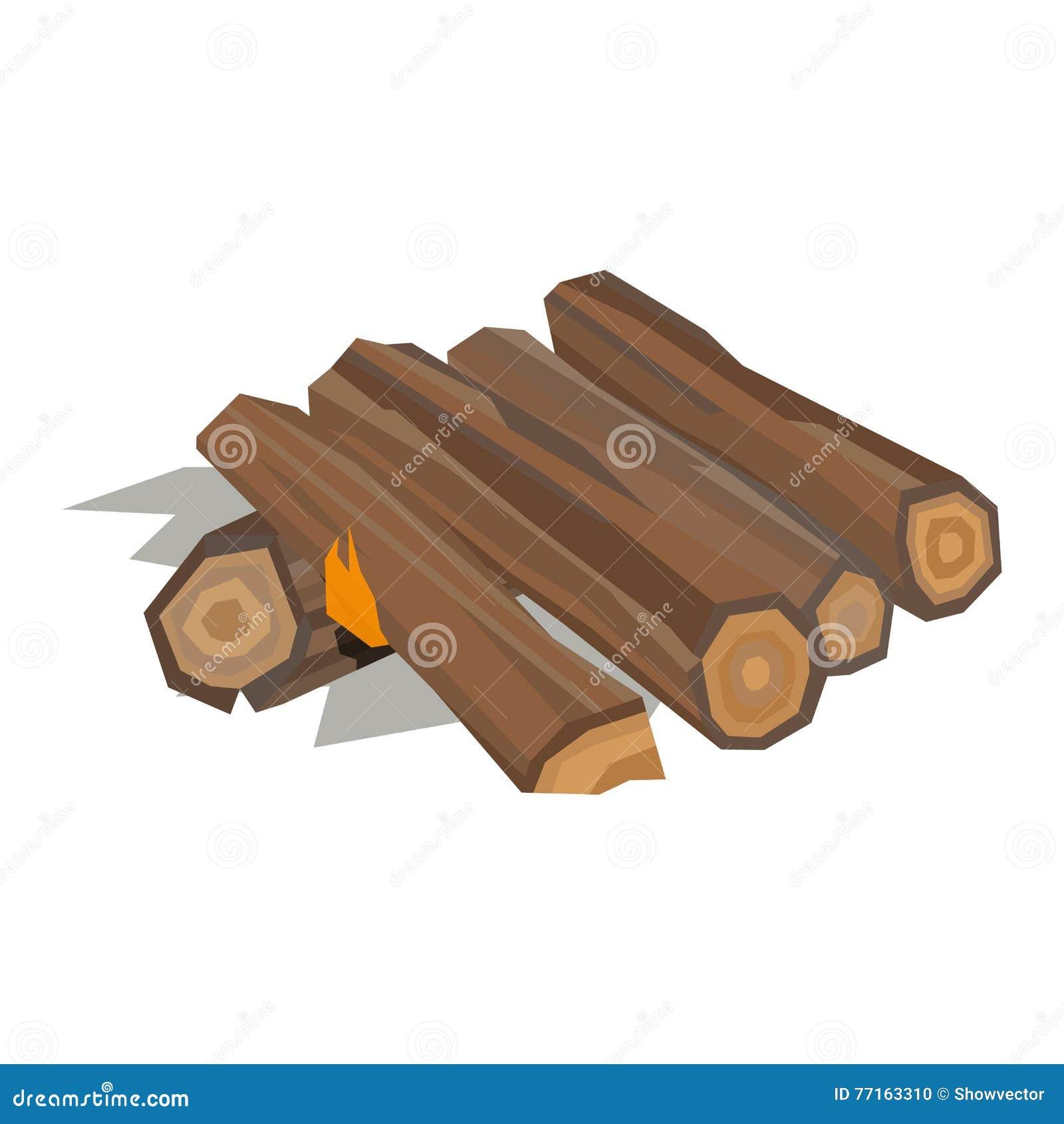 Matériel en bois de vecteur de pile de bois de chauffage