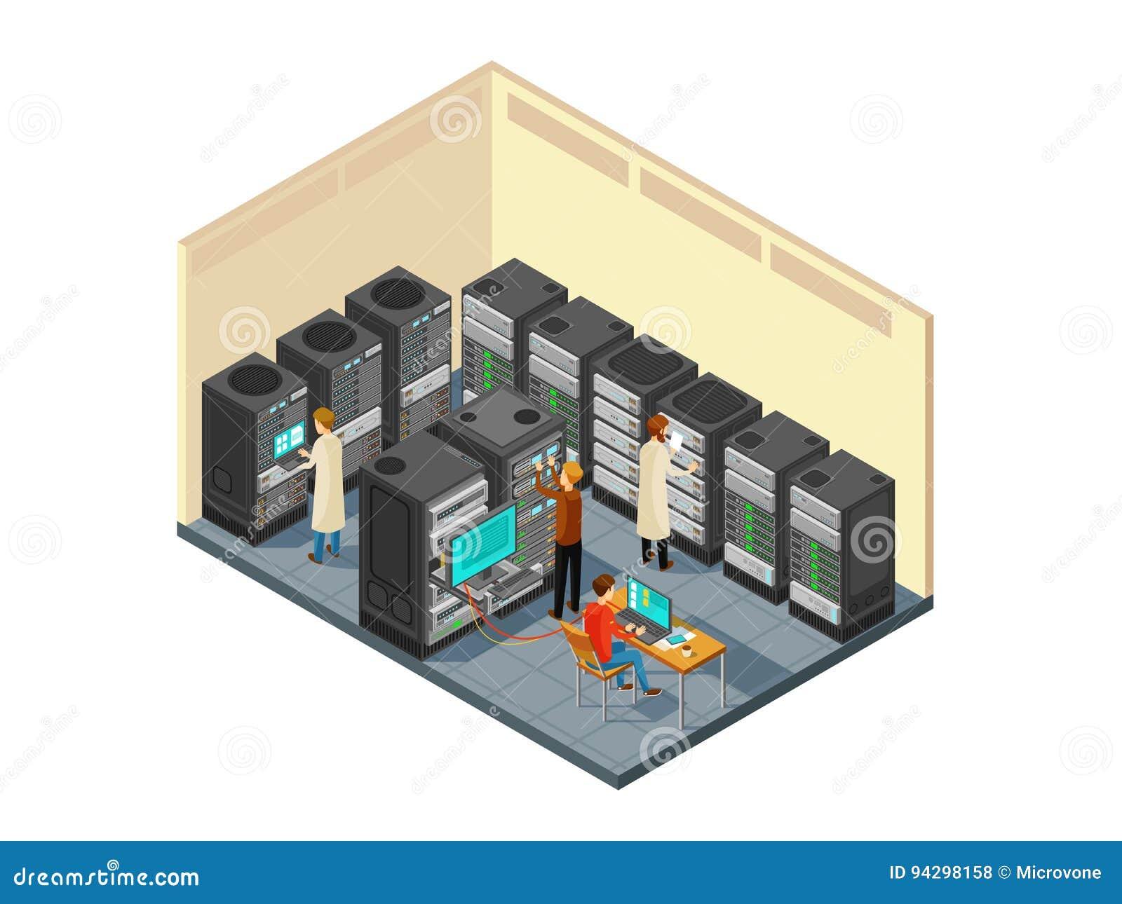 Matériel informatique dans la chambre de serveur de réseau avec le personnel Illustration isométrique de vecteur de centre de séc