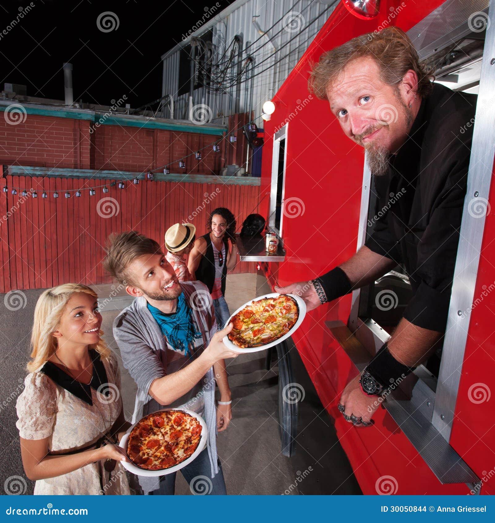 Pizzamatställen på mat åker lastbil