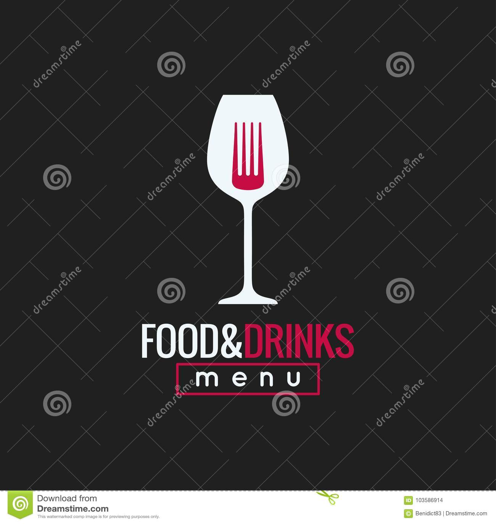 Mat- och drinklogodesign Bakgrund för vinexponeringsglas och gaffelbegrepps
