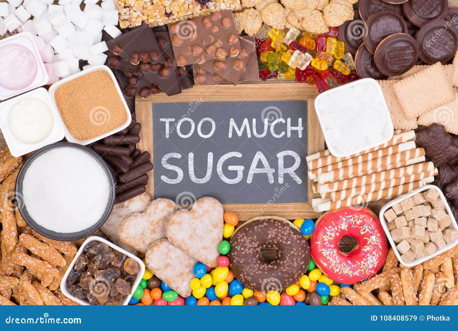 för mycket socker
