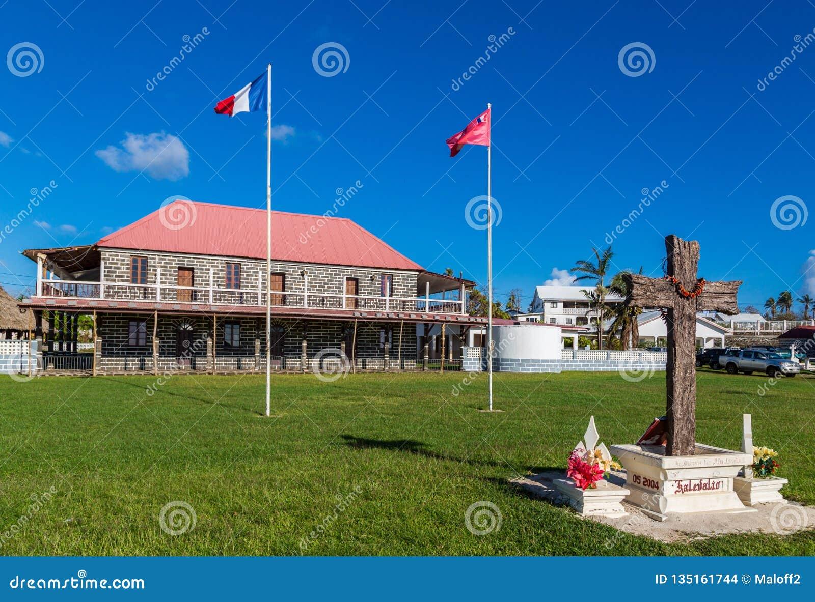 Mata-Utu, Wallis en Futuna Het Paleis van de gebruikelijke Koning in het kapitaal van grondgebied van wallis-et-Futuna, Polynesia