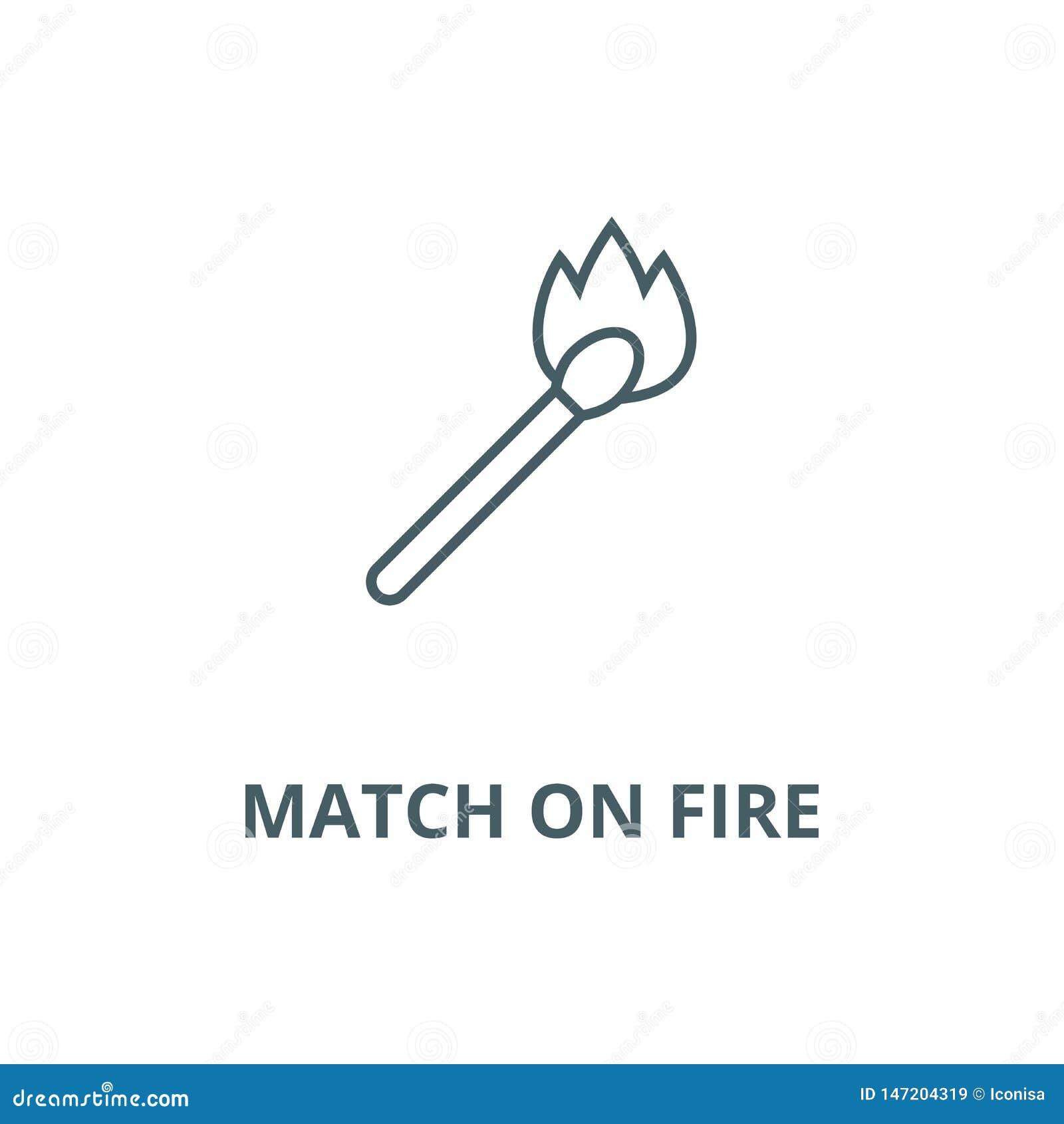 Match auf Feuervektorlinie Ikone, lineares Konzept, Entwurfszeichen, Symbol