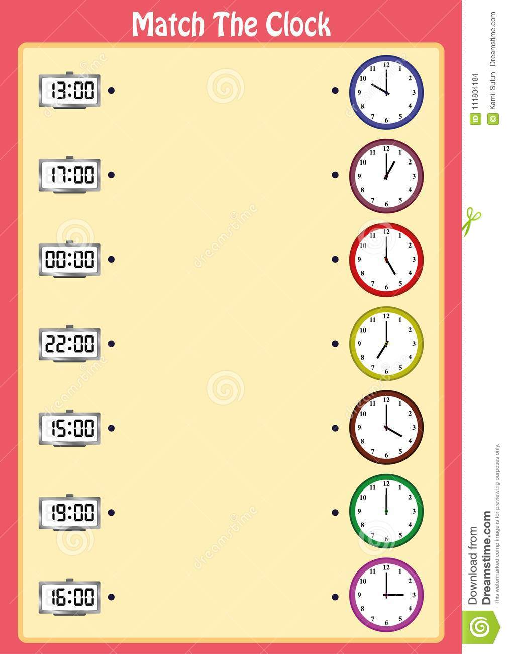 Match The Clocks Kids Learn To Read Analog Clocks With This
