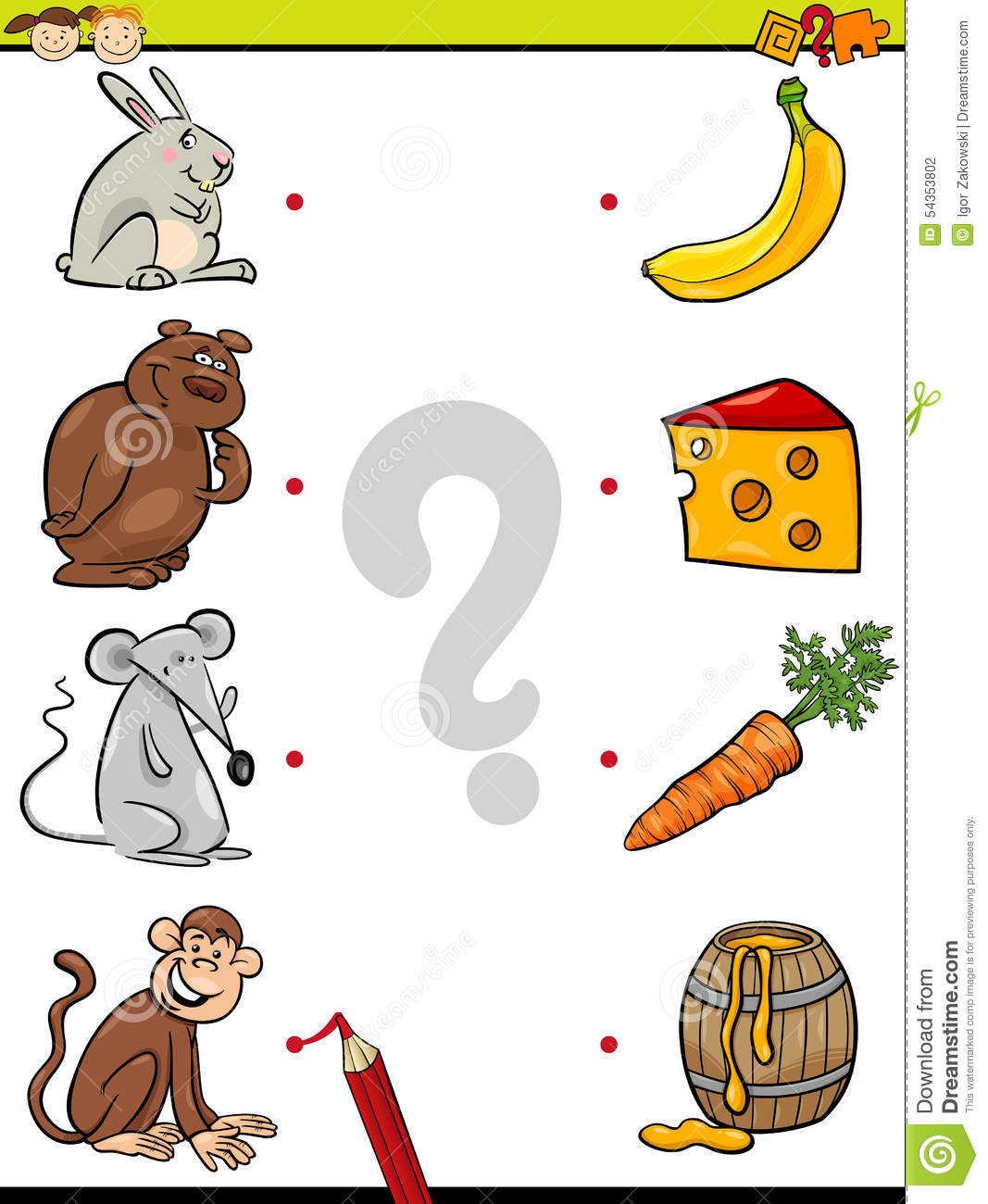 Stock Illustration Match Elements Education Game Cartoon Illustration Element Matching Preschool Children Animals Their Favorite Food Image54353802 on Kindergarten Time Worksheets For All Download And