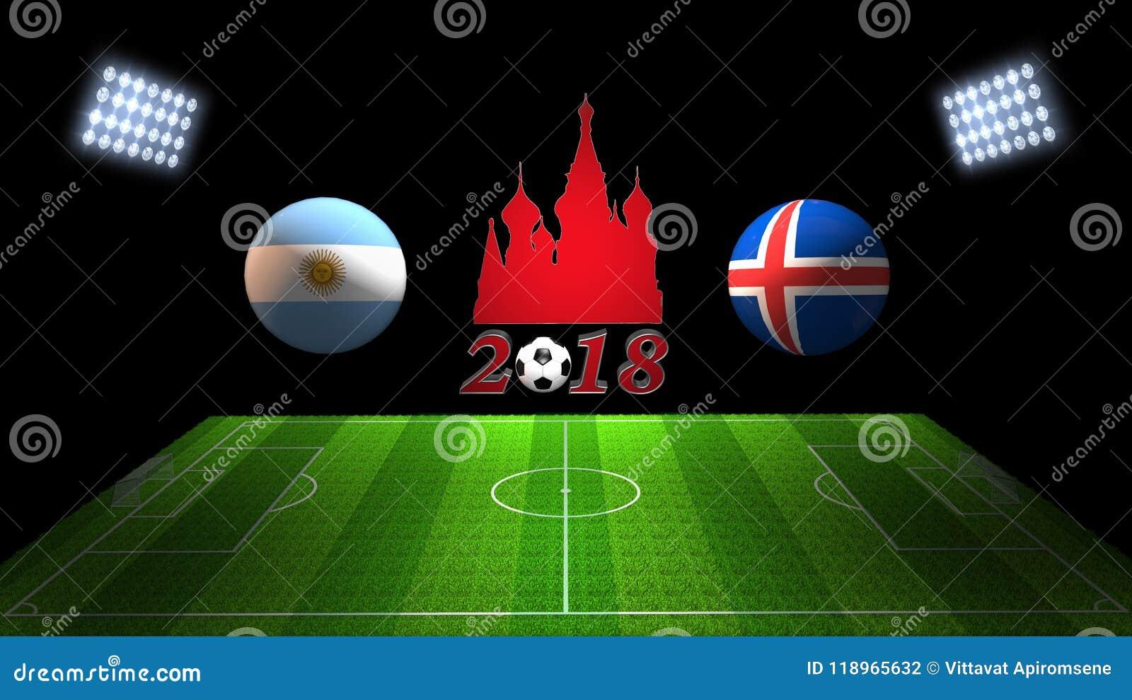 Match 2018 för världsfotbollkopp i Ryssland: Argentina vs Island I