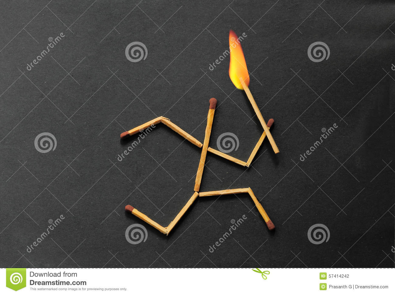 Match stick running with fire on head