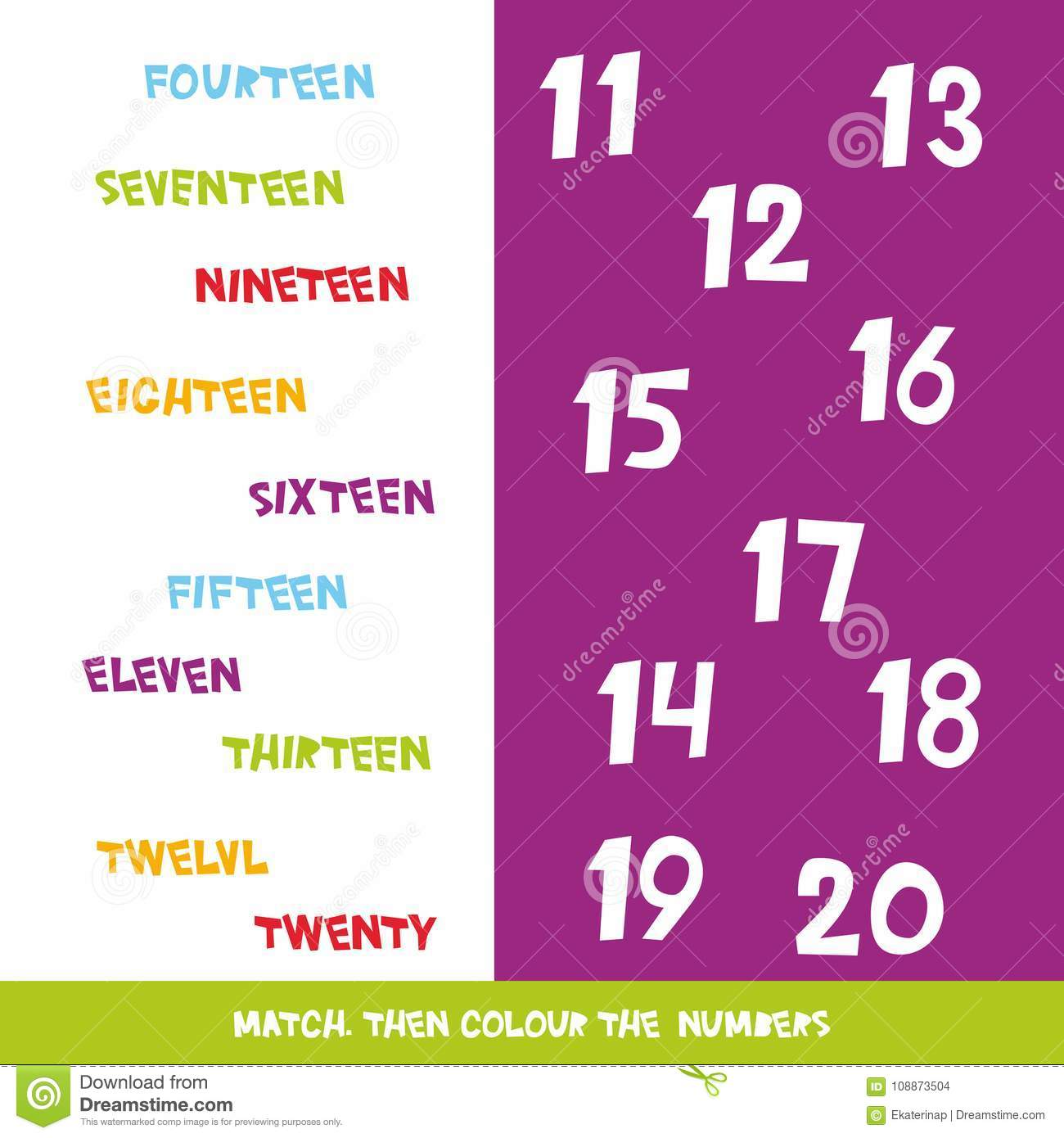 Match Then Colour the Numbers 20 To 20. Kids Words Learning Game ...