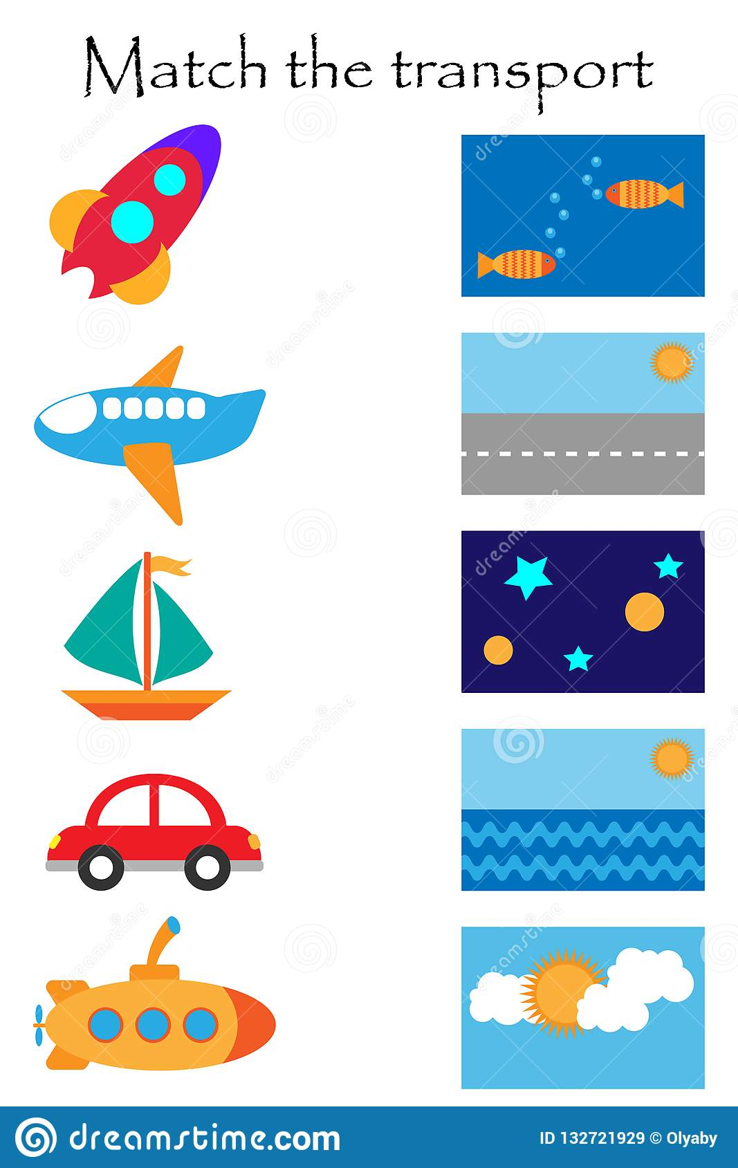 Match The Transport And Where It Flyes And Goes, Fun ...