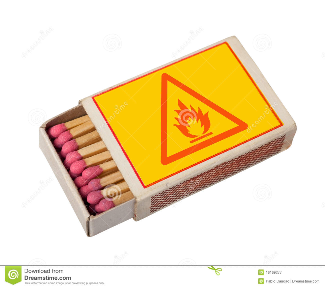 Matchbox isolated with hazard sign.