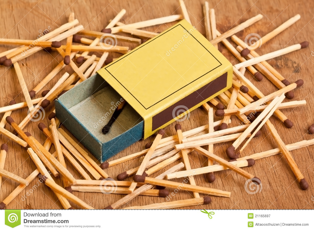 Matchbox lying on pile of matches