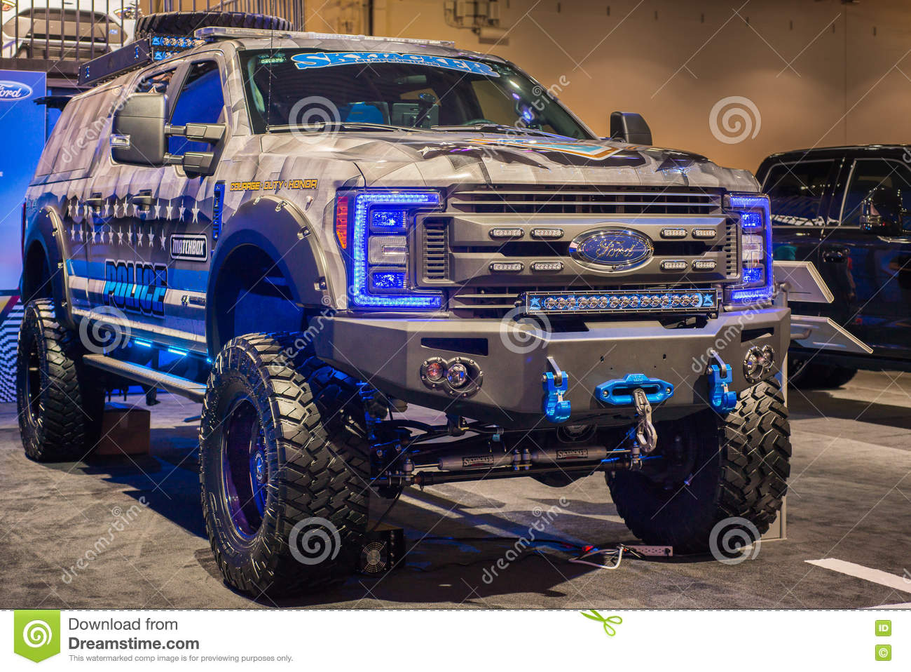 Download Matchbox Police Themed Truck At SEMA. Editorial Stock Image    Image Of America,