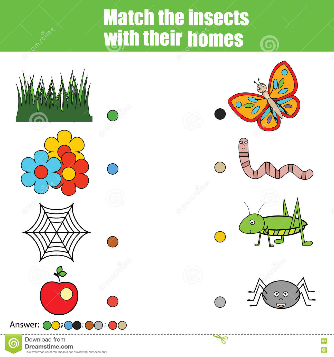 Matching Children Education Game, Kids Activity. Match Insects With ...