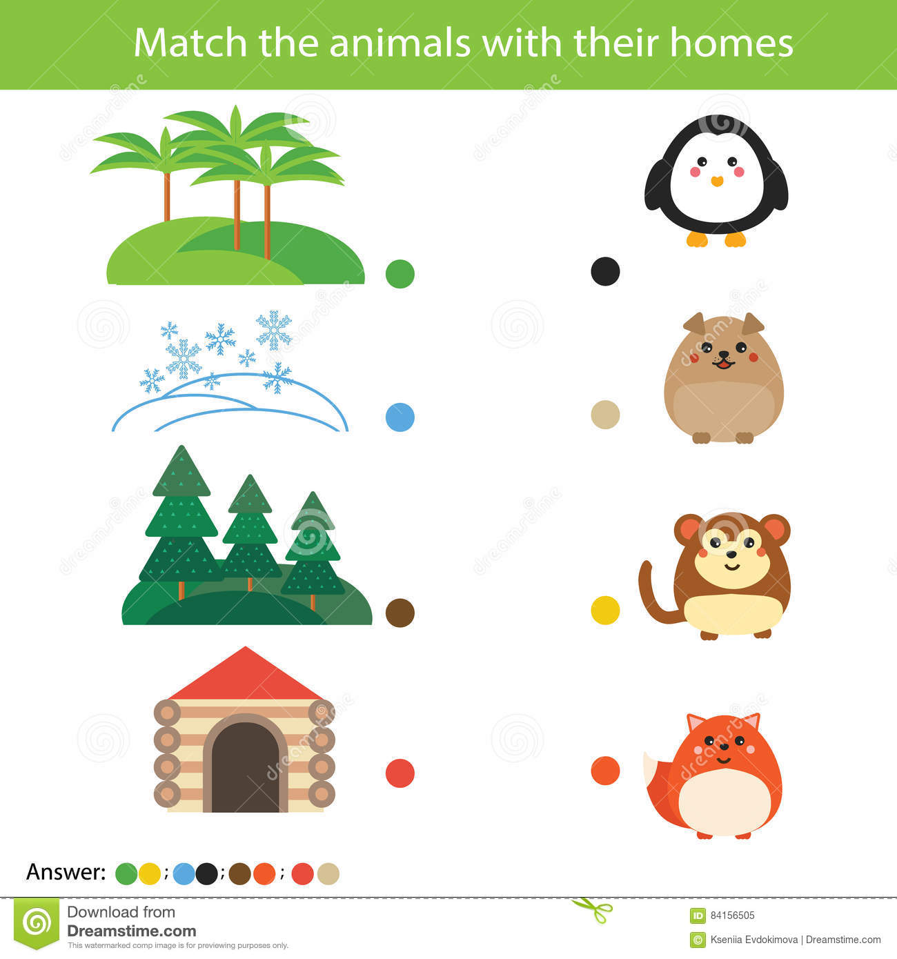 Stock Illustration Matching Children Education Game Match Animals Their Homes Learning Nature Theme Activity Kids Worksheet Answer Image84156505 on 5 Senses Worksheets For Preschool Education Com