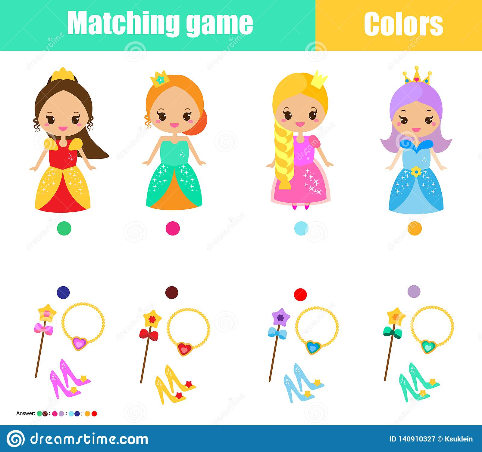 Connect The Colors >> Matching Children Educational Game Match By Color Connect Princess