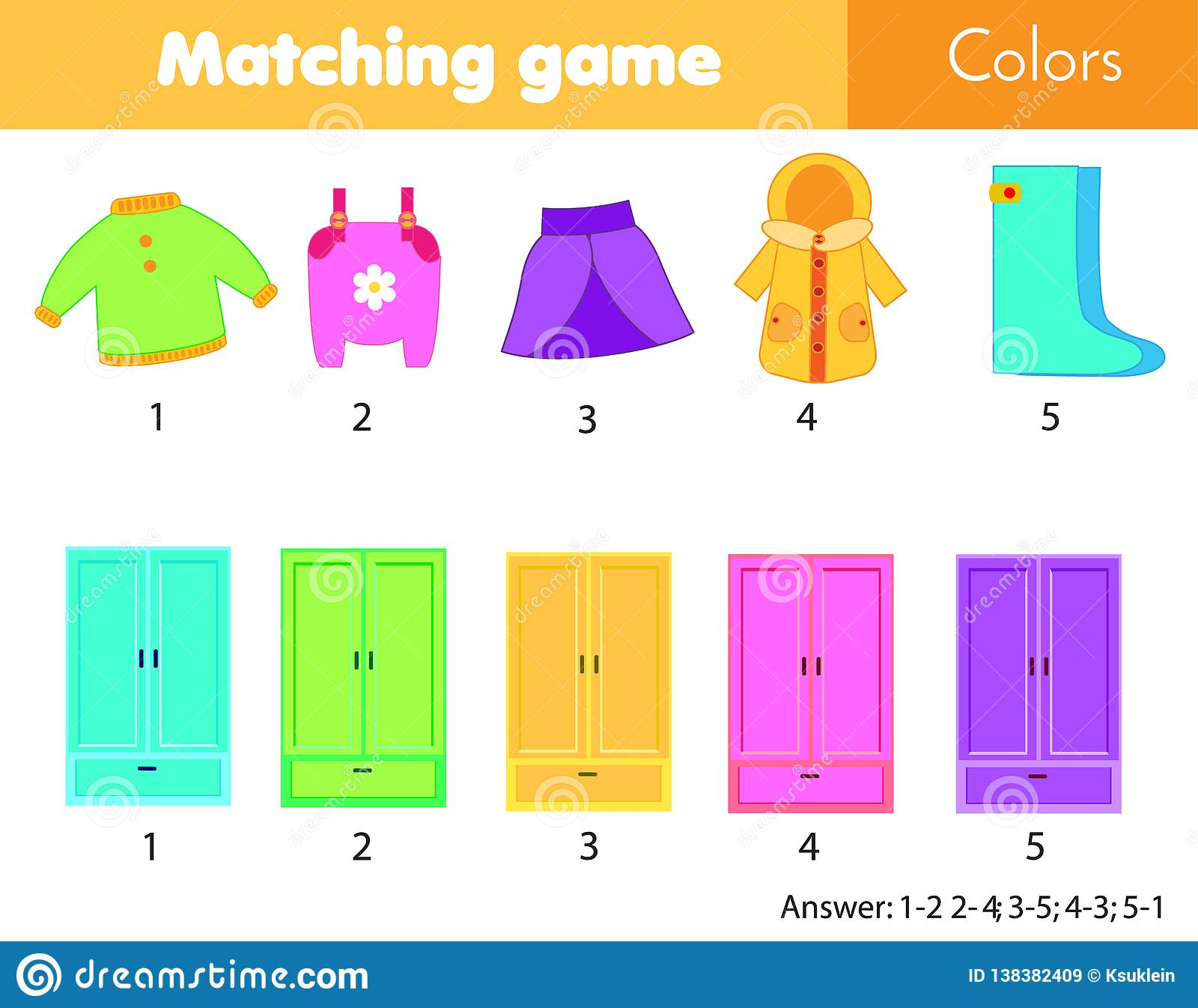 Matching Children Educational Game. Match By Color. Put ...