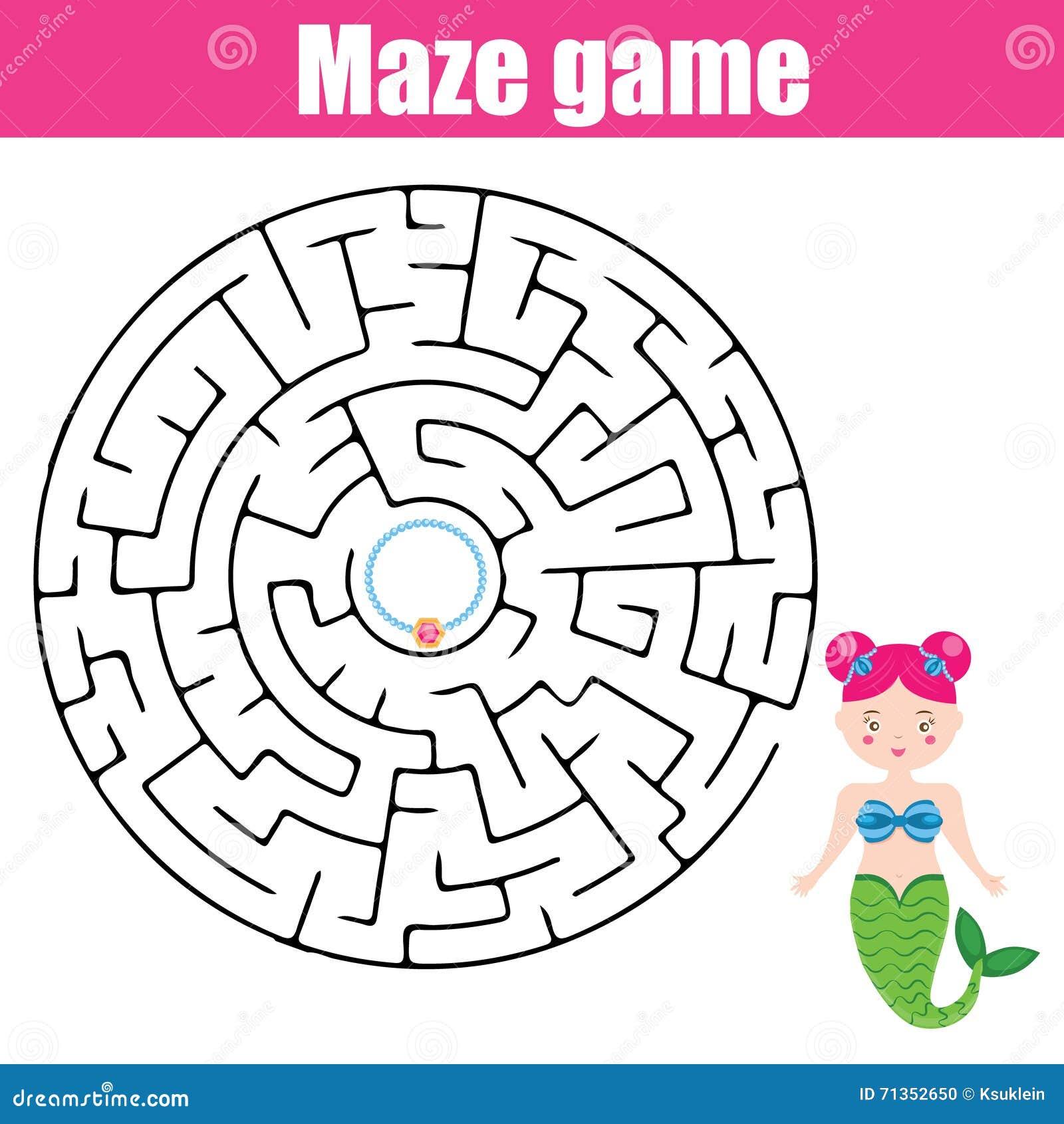 maze game  fairytales theme stock vector
