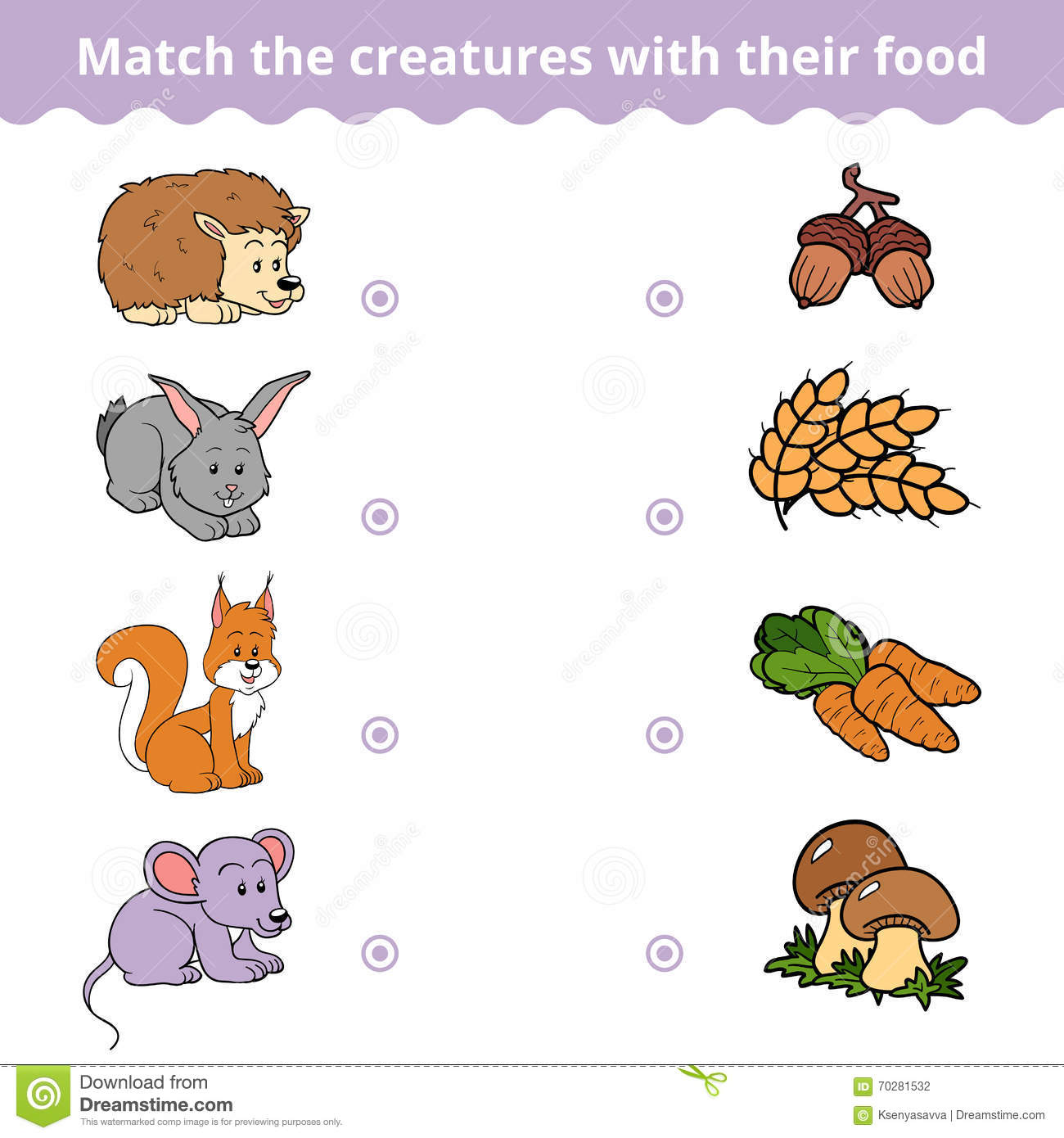 Stock Illustration Matching Game Children Animals Favorite Food Vector Education Image70281532 on Kindergarten Worksheet With U
