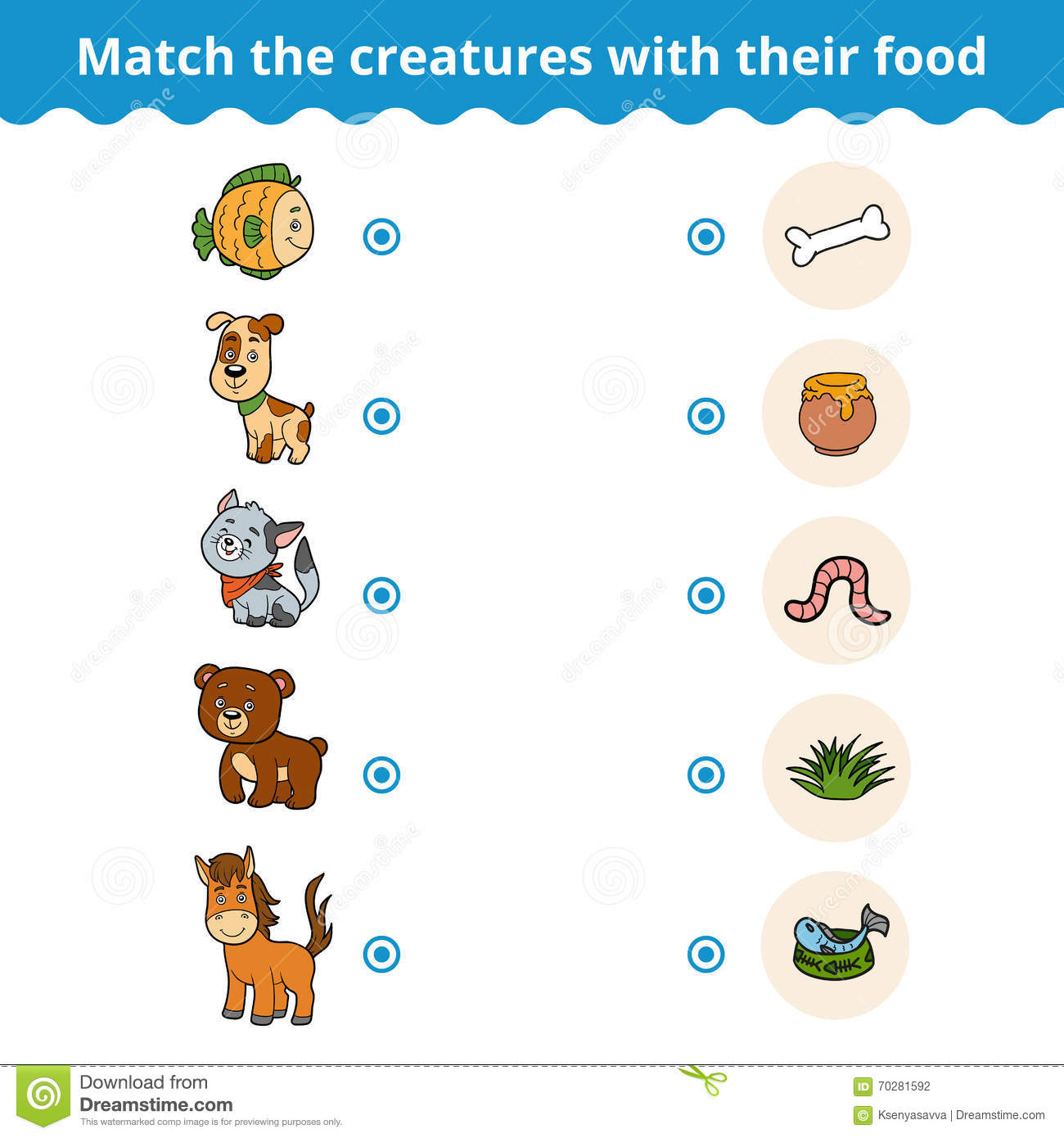 matching game for children animals and favorite food stock vector image 70281592. Black Bedroom Furniture Sets. Home Design Ideas
