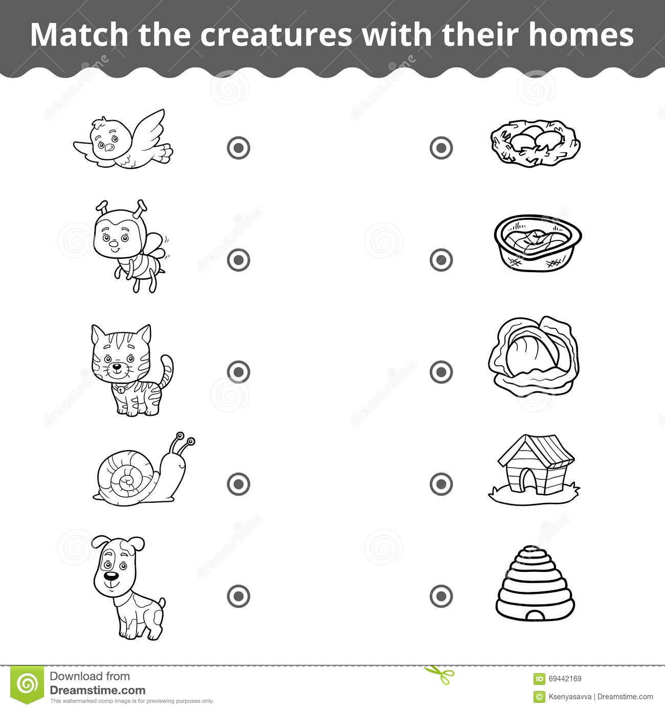 matching game for children animals and their homes stock vector image 69442169. Black Bedroom Furniture Sets. Home Design Ideas