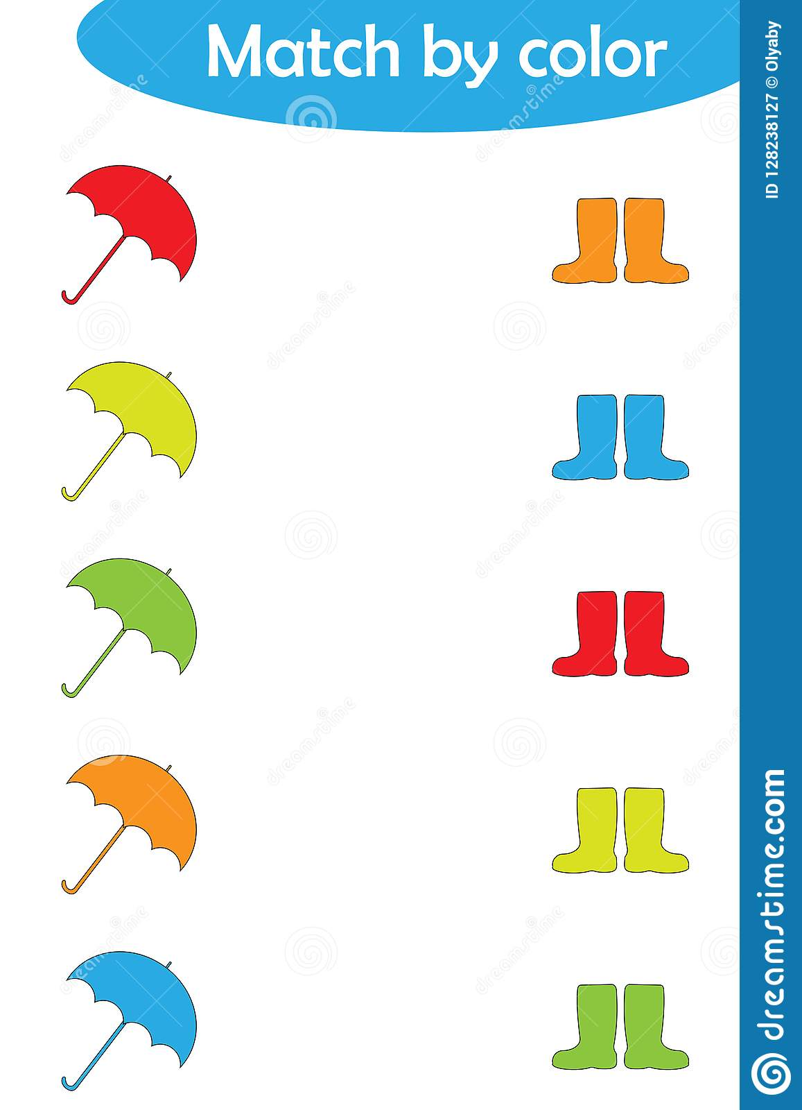 matching game for children connect umbrellas and boots by color preschool worksheet activity. Black Bedroom Furniture Sets. Home Design Ideas