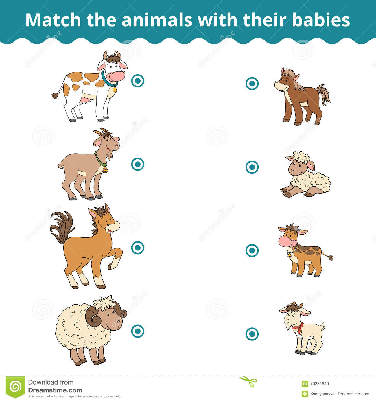Matching Game For Children Farm Animals And Babies Vector – Animals and Their Babies Worksheets for Kindergarten