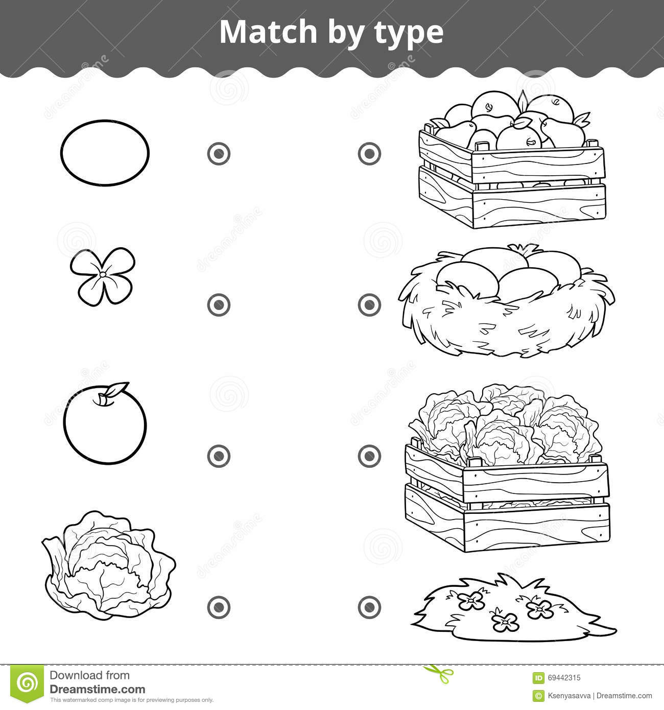matching game for children  match items by type stock vector