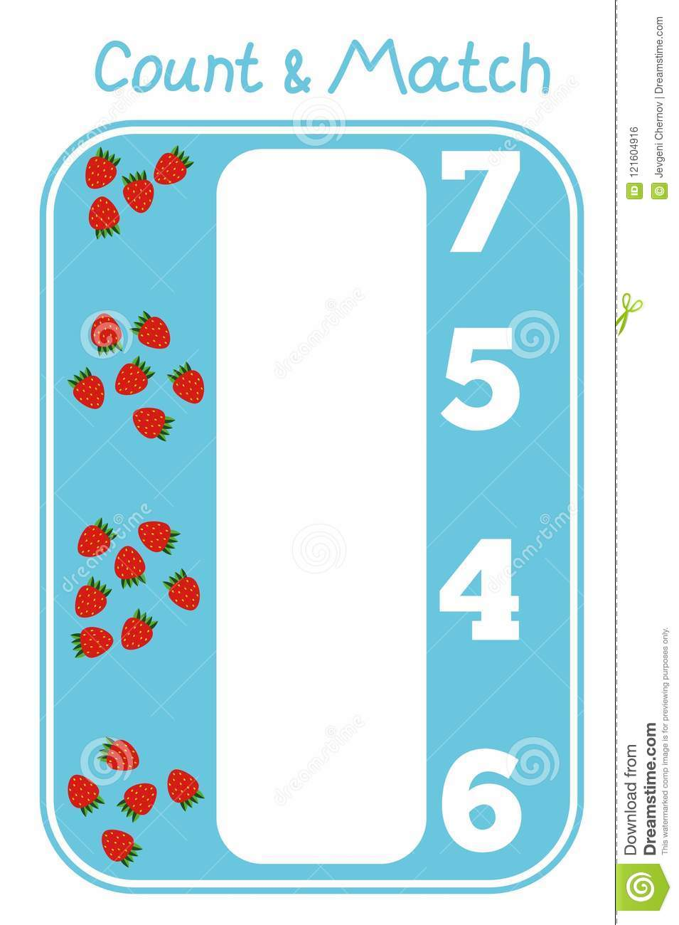Count And Match Game With Strawberries For Children Stock Vector ...