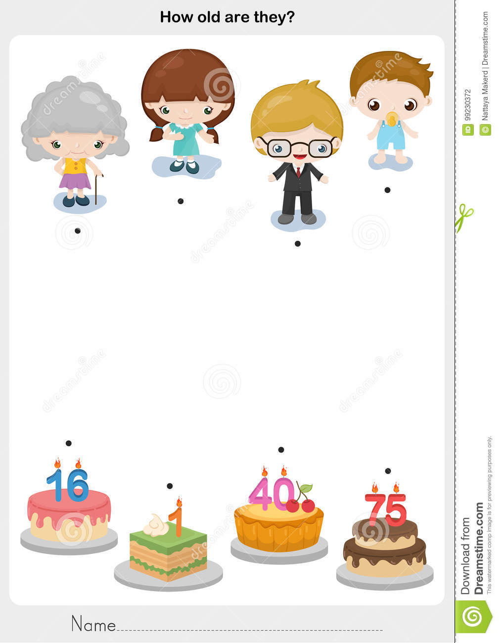 Matching People And Birthday Cake Stock Vector Illustration Of