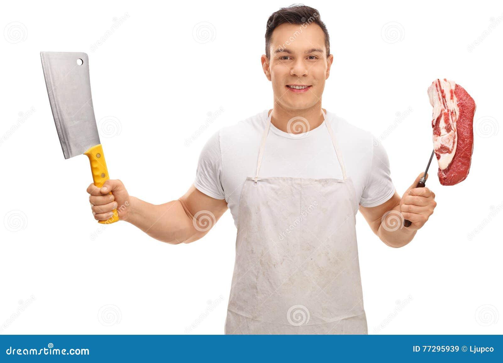Mate sostener una cuchilla y una bifurcación con un filete