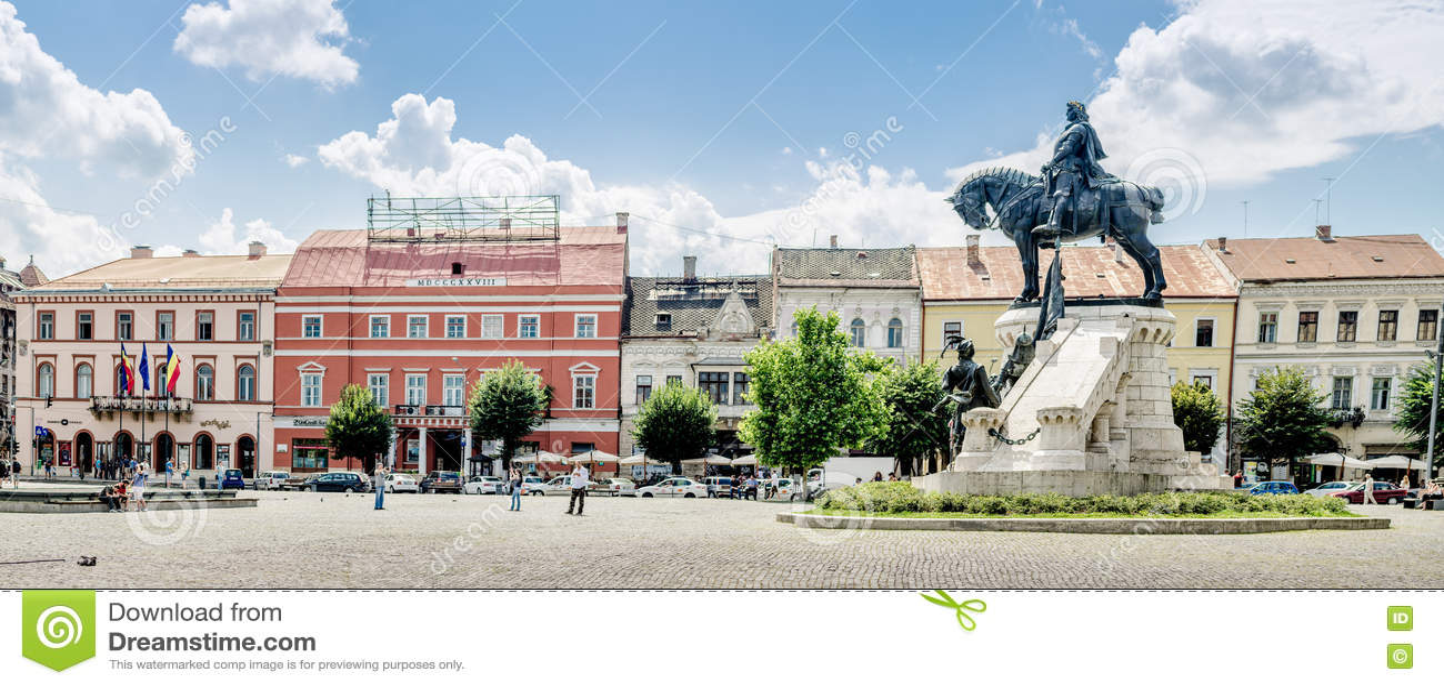 Matei Corvin ( Matthias Corvinus Rex ) statue in the central Unirii Square in Cluj-Napoca