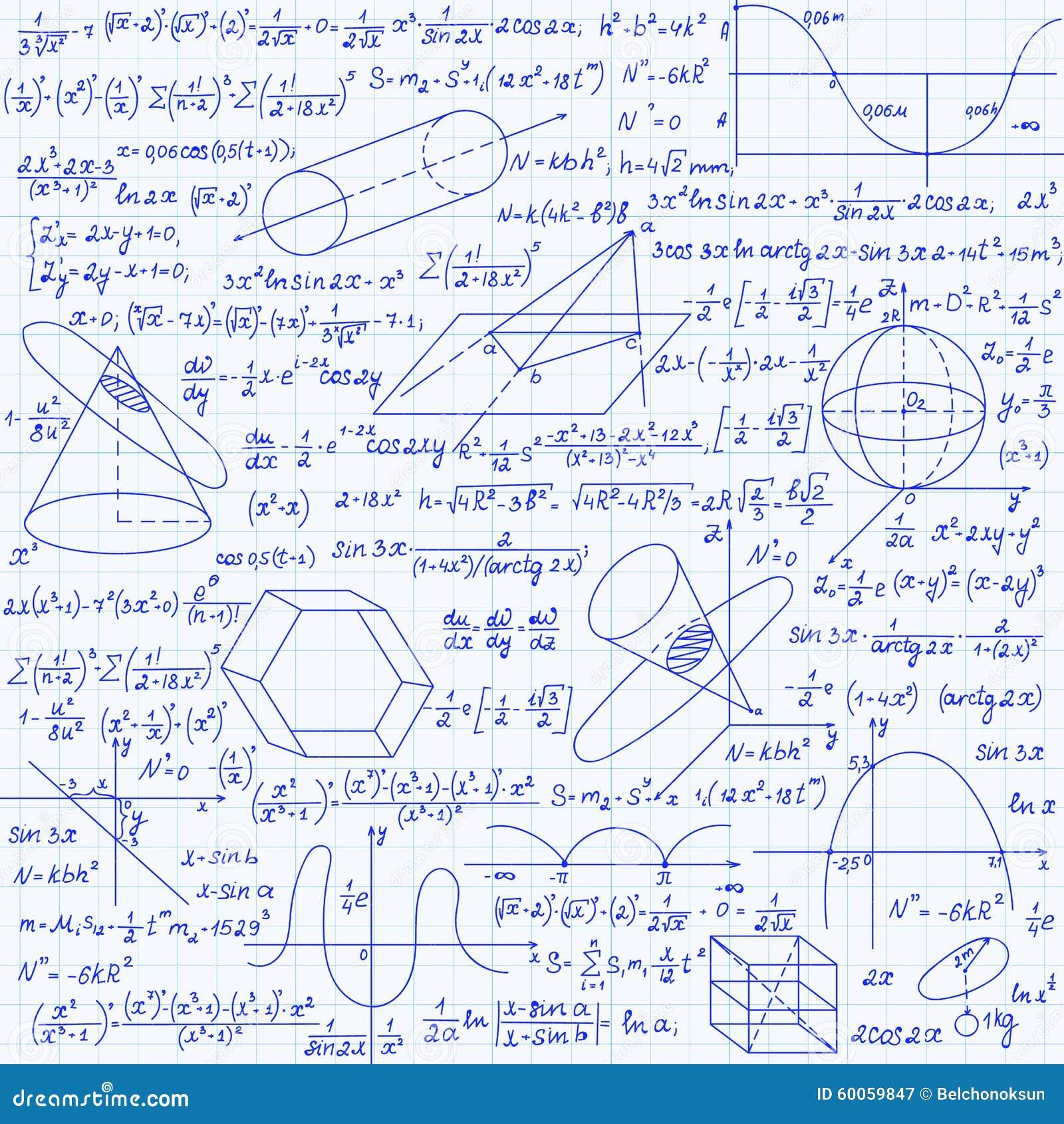 Matematycznie wektorowy bezszwowy wzór z geometrical postaciami fabuły i równania ręcznie pisany na siatki copybook papierze,