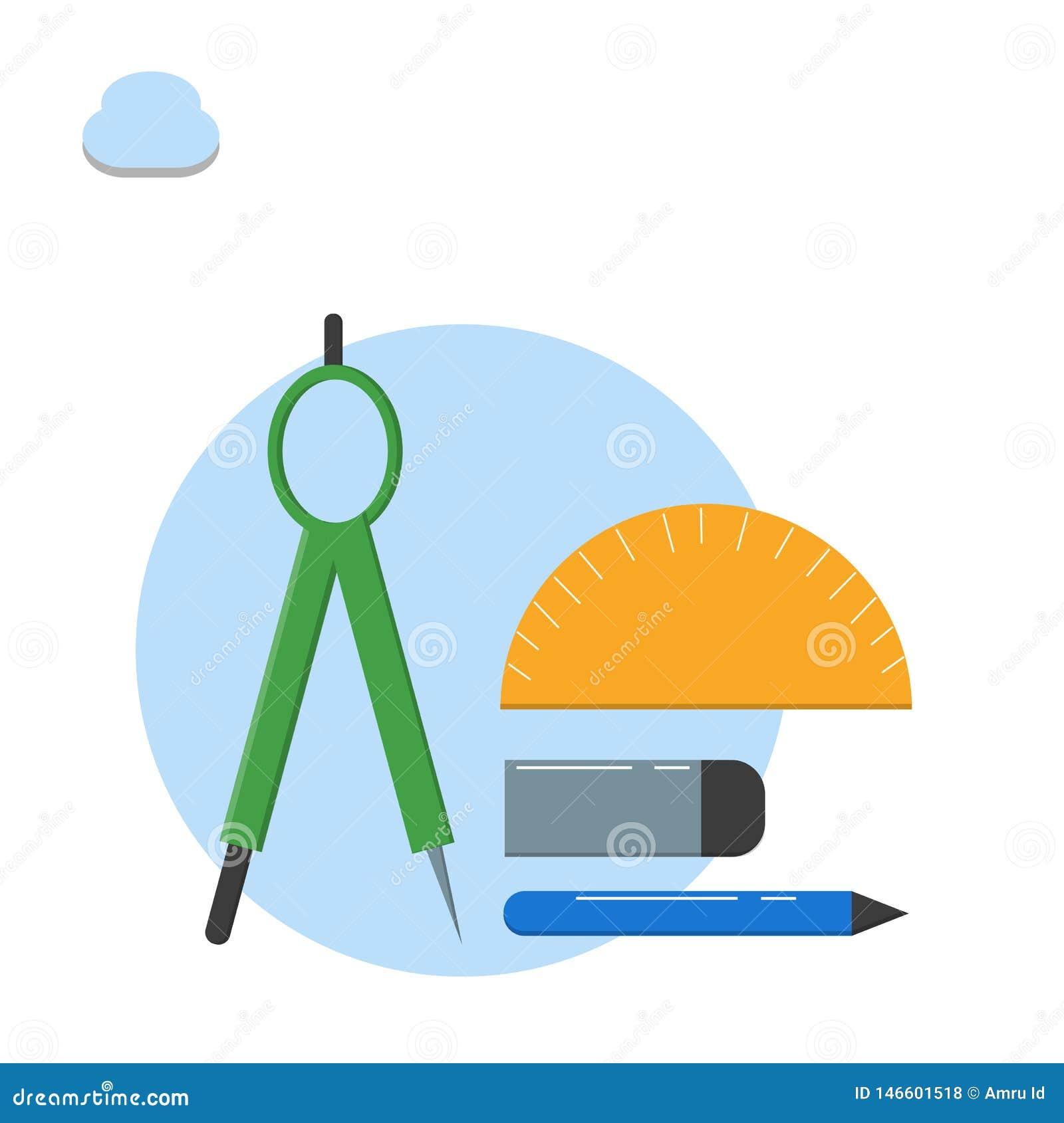 Matematycznie wyposażenie kątomierz, kompas, ołówek, gumki ilustracja - wektor