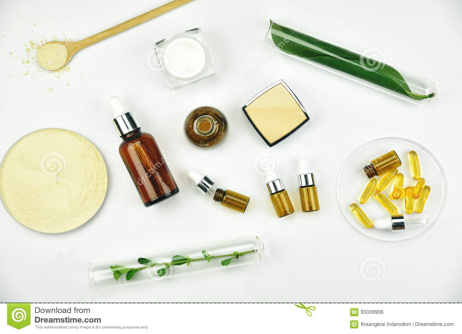 Materia prima y producto de belleza de los cosméticos que empaqueta, ingrediente orgánico natural