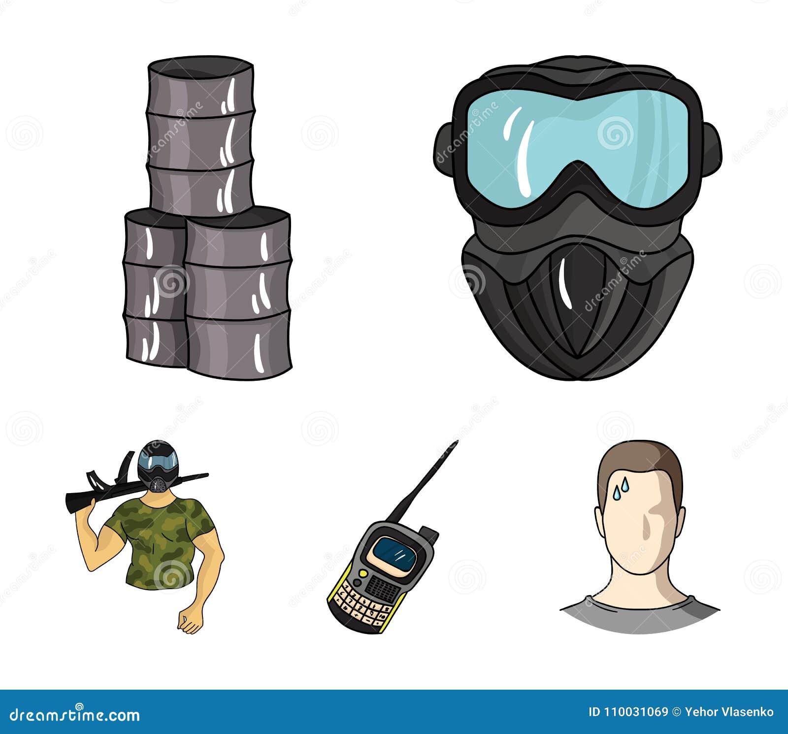 Materiaal, masker, vat, barricade Pictogrammen van de Paintball de vastgestelde inzameling in van de het symboolvoorraad van de b