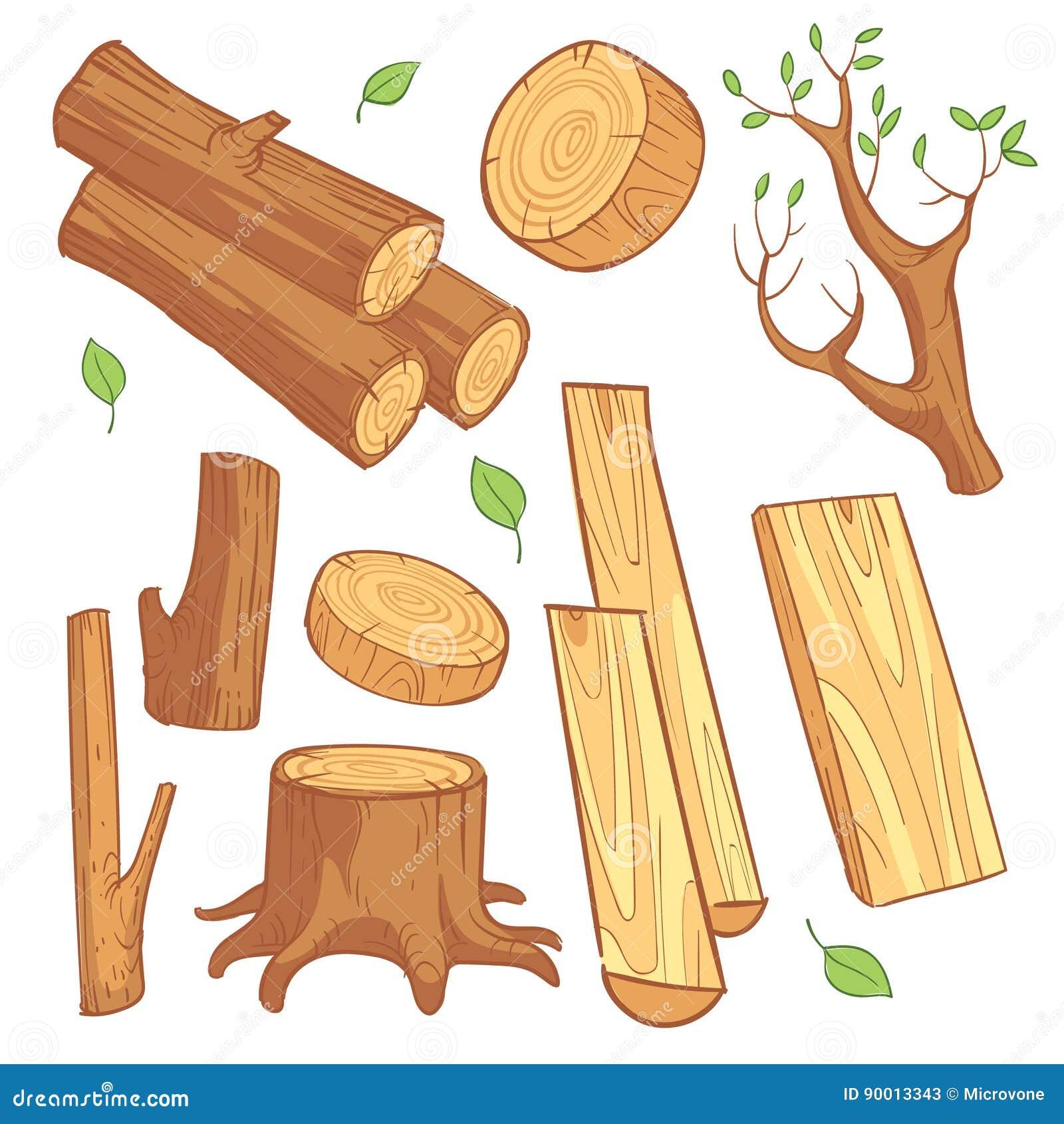 Materiais de madeira dos desenhos animados, madeira serrada, lenha, grupo de madeira do vetor do coto