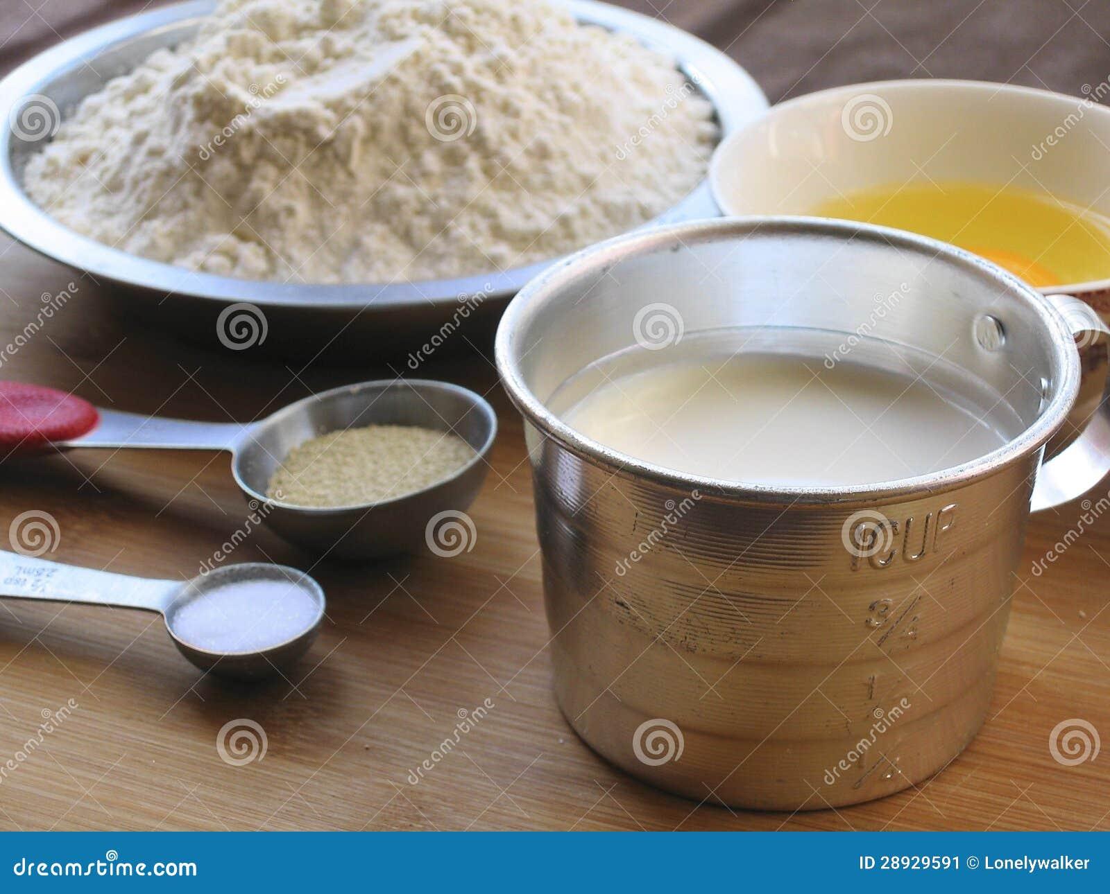 Materiais do pão do leite