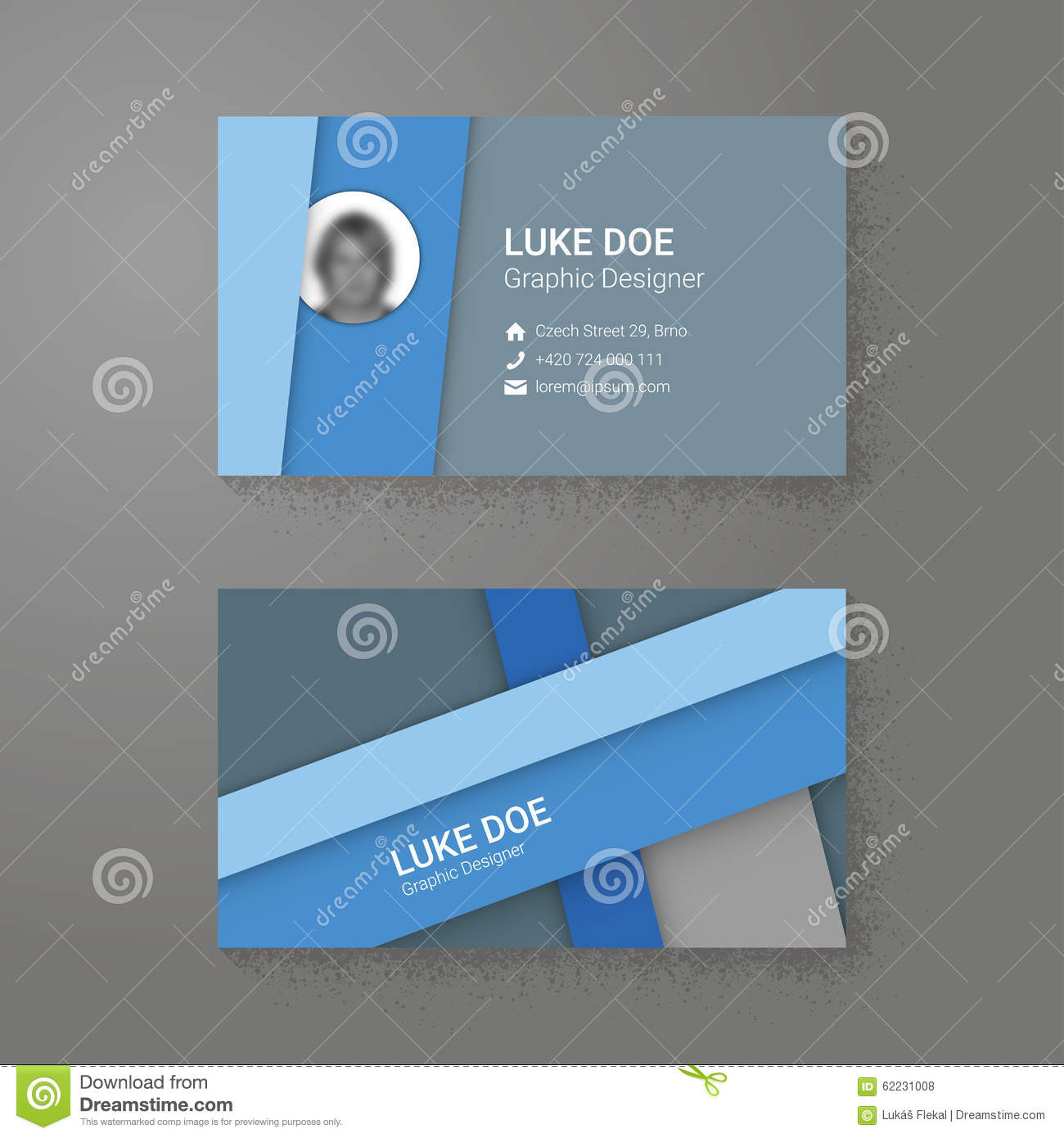 Material Desig Style Business Card Template Stock Vector - Image ...