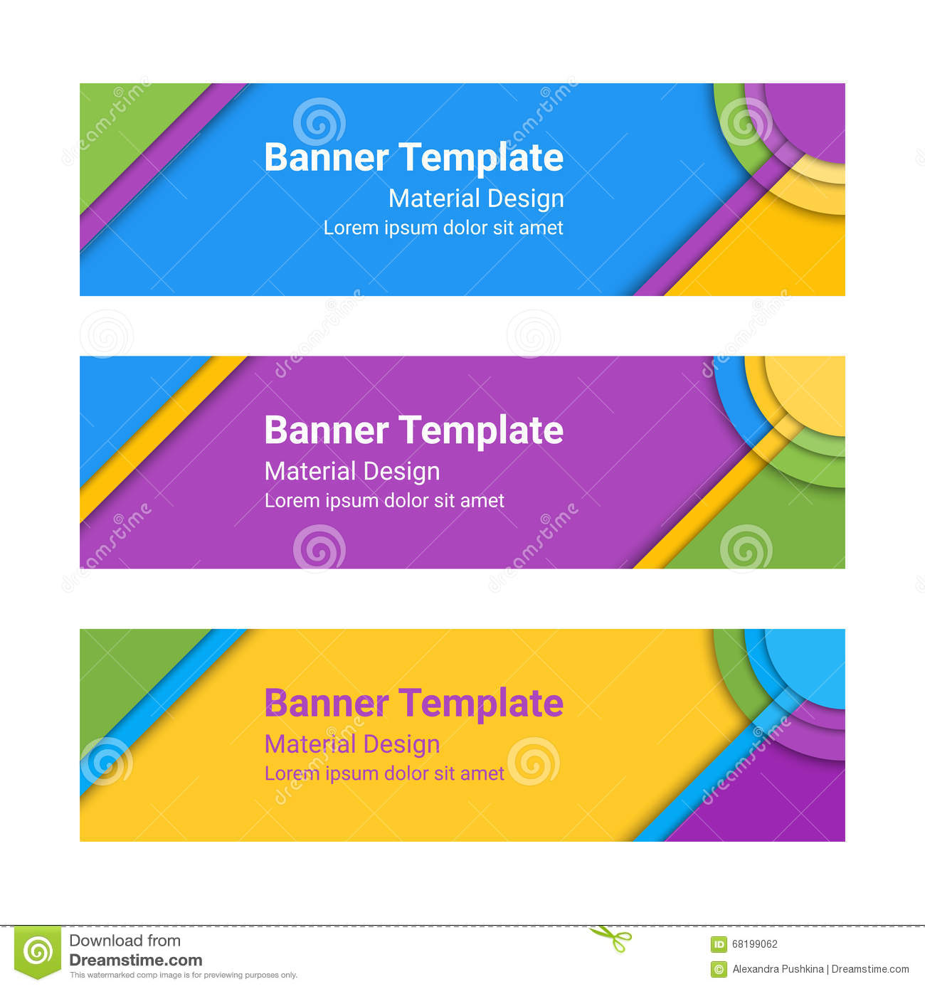 Material Design Banners. Set Of Modern Colorful Horizontal Vector ...