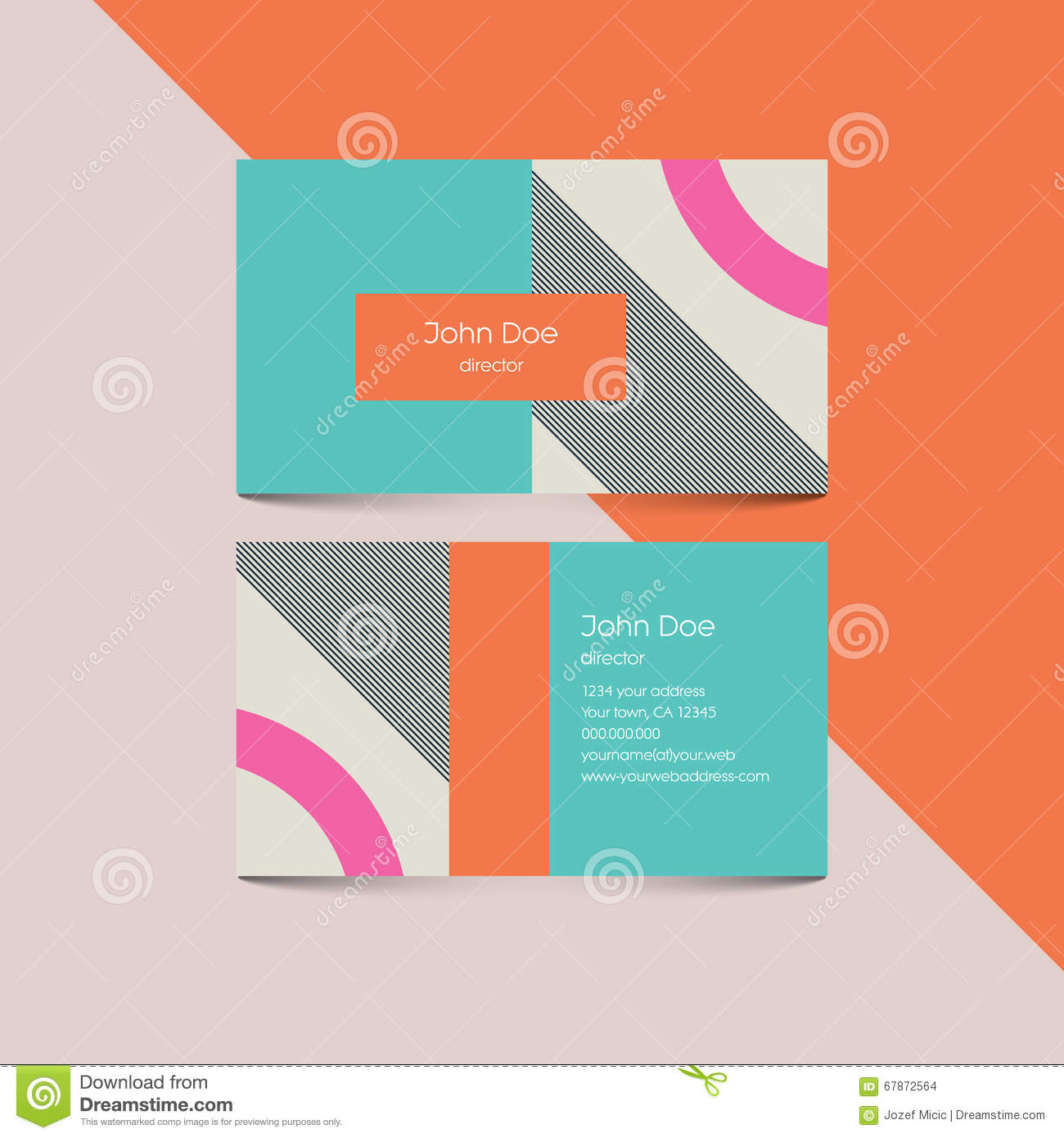 design business card template with 80s style background. Modern retro ...